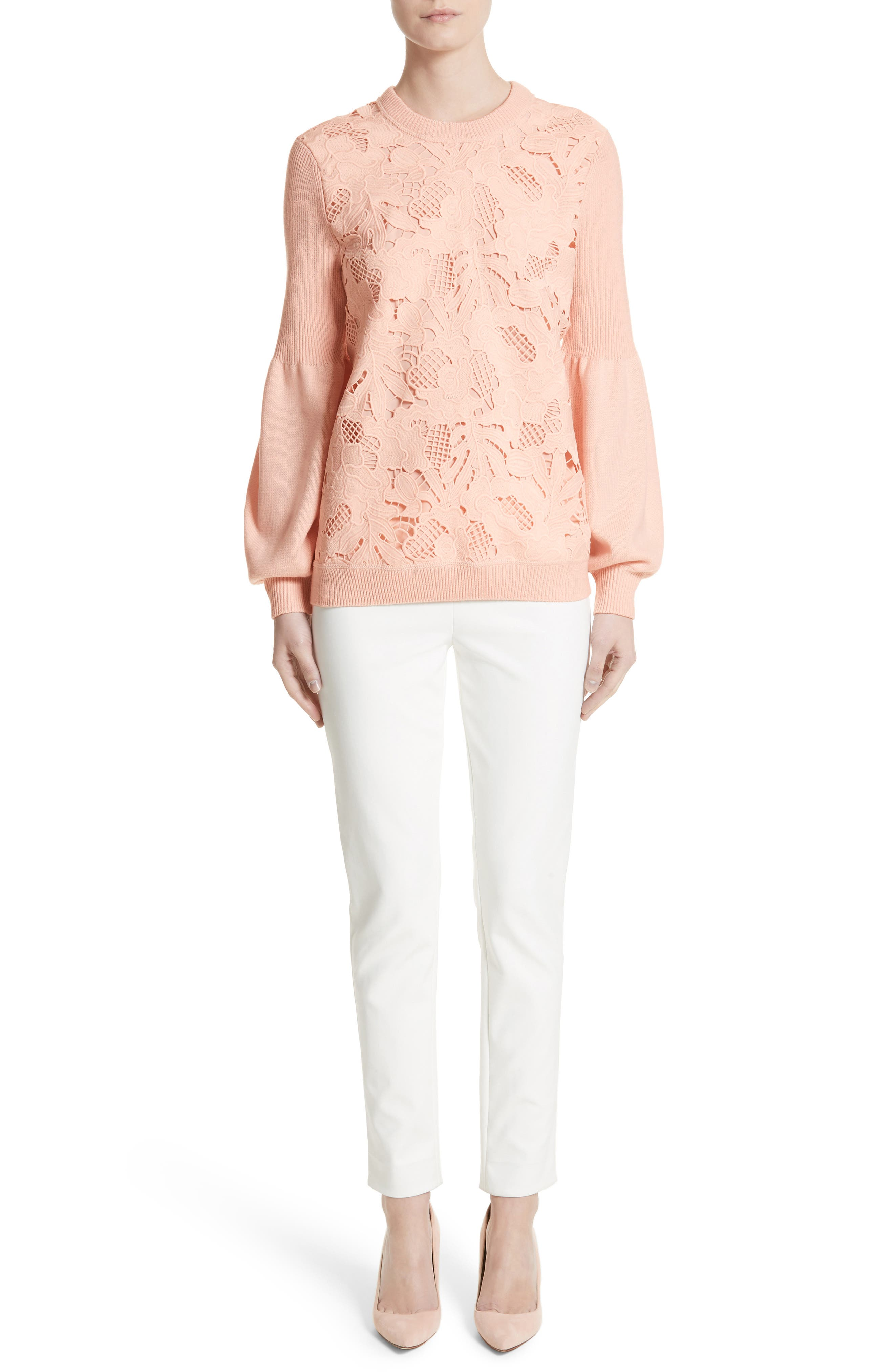 Lace Trim Puff Sleeve Sweater,                             Alternate thumbnail 8, color,                             Blush