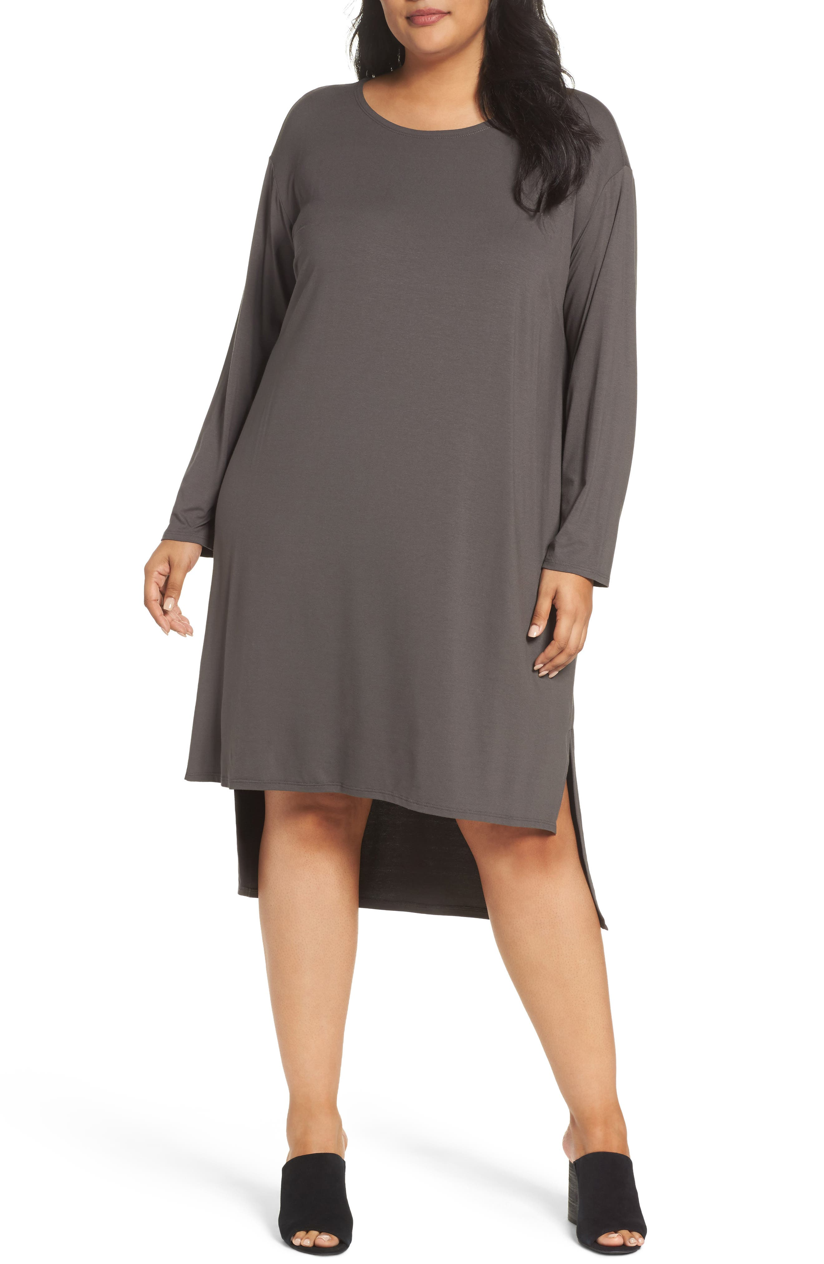 Eileen Fisher High/Low Jersey Shift Dress (Plus Size)
