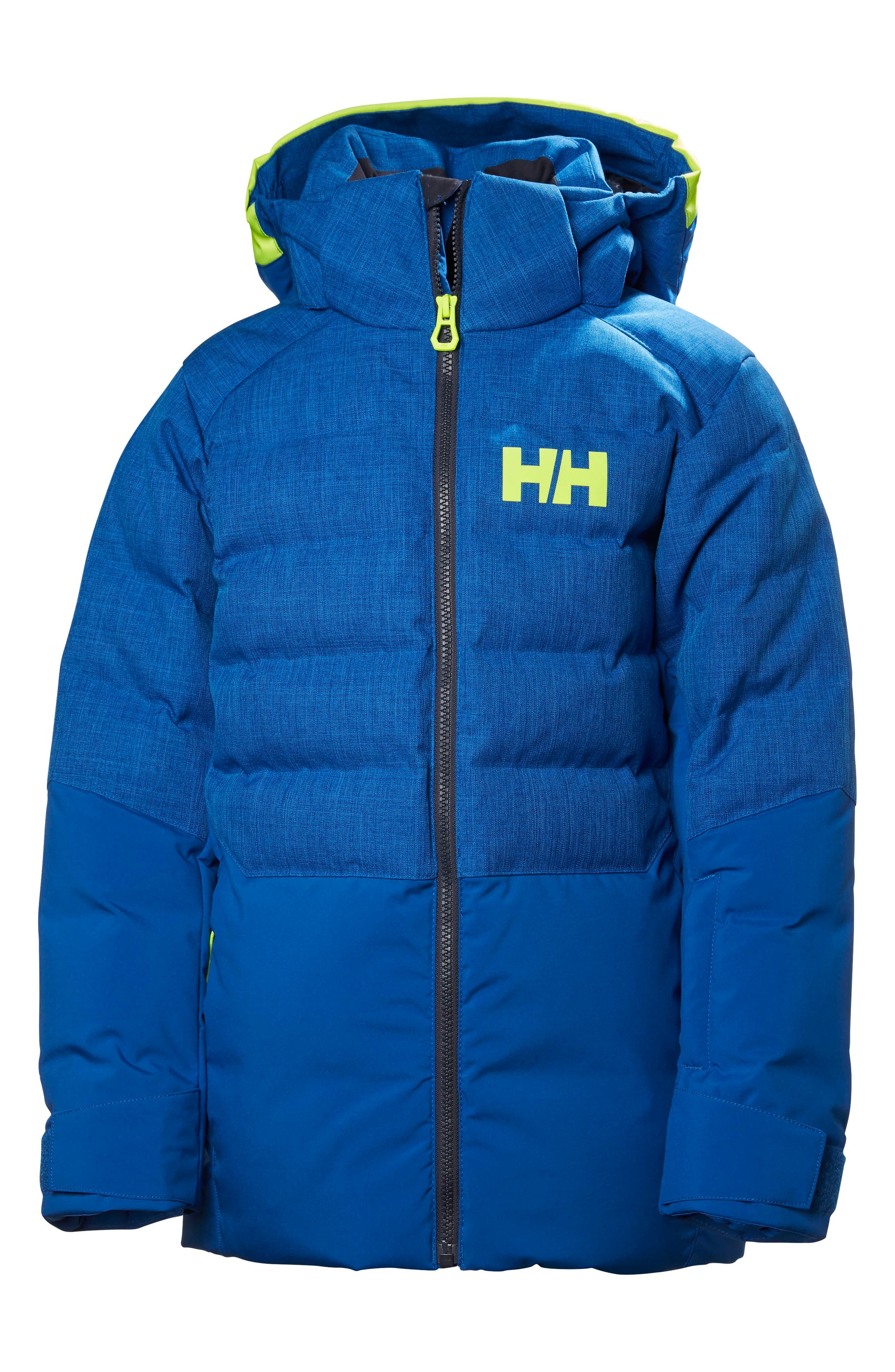 Jr. North Waterproof & Windproof 480-Fill Power Down Jacket,                         Main,                         color, Olympian Blue