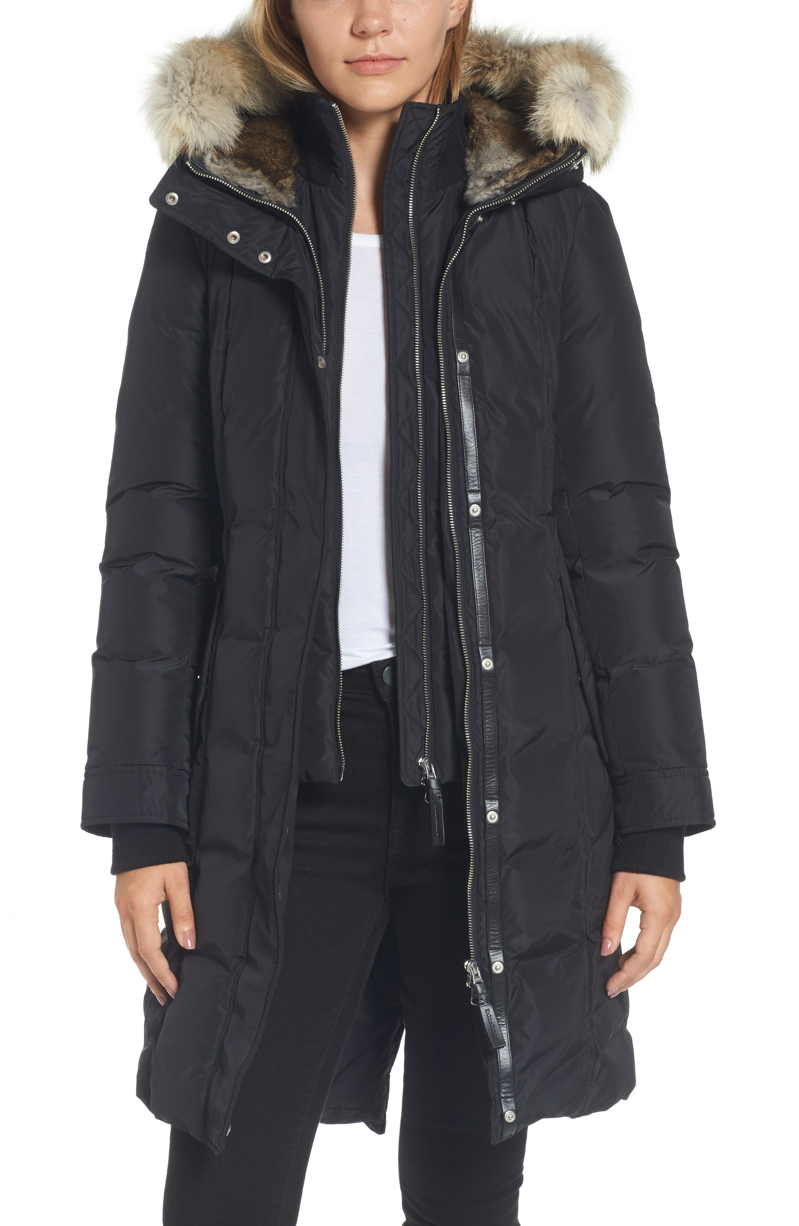 Hooded Down Parka with Genuine Coyote & Rabbit Fur Trim,                         Main,                         color, Black