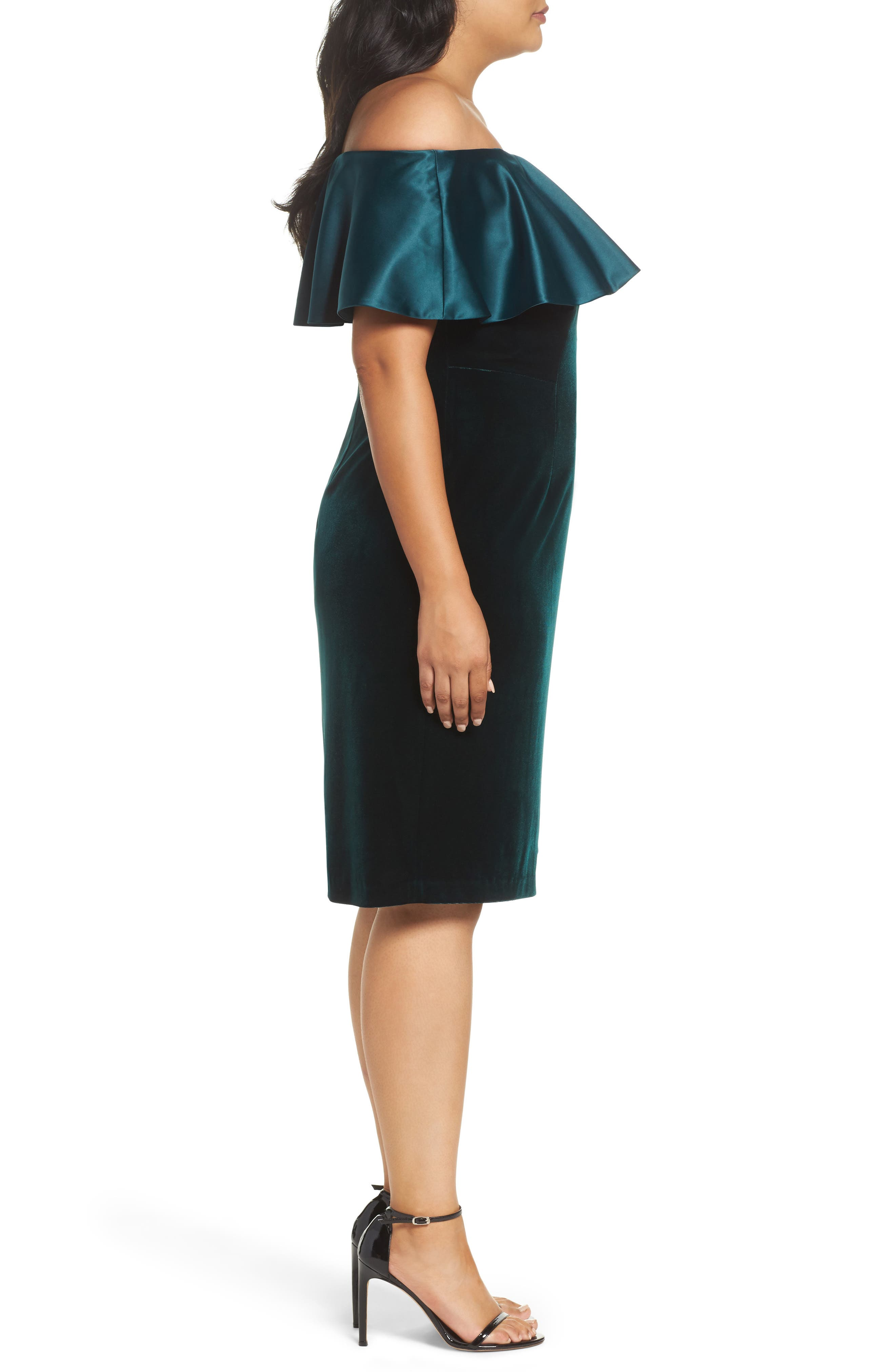 Adriana Papell Stretch Velvet Sheath Dress,                             Alternate thumbnail 4, color,                             Emerald