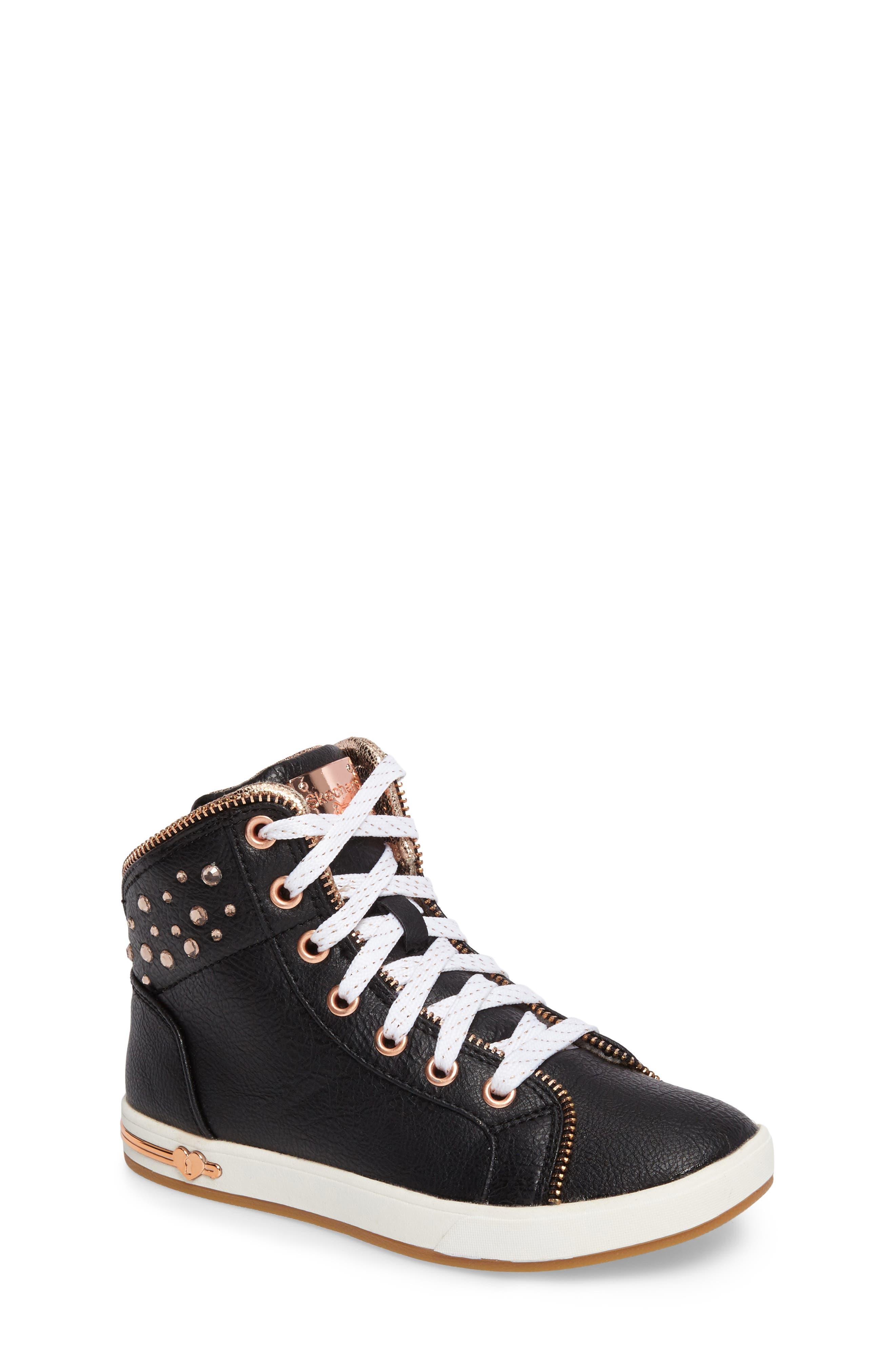 Shoutouts Embellished High Top Sneaker,                             Main thumbnail 1, color,                             Black/ Rose Gold