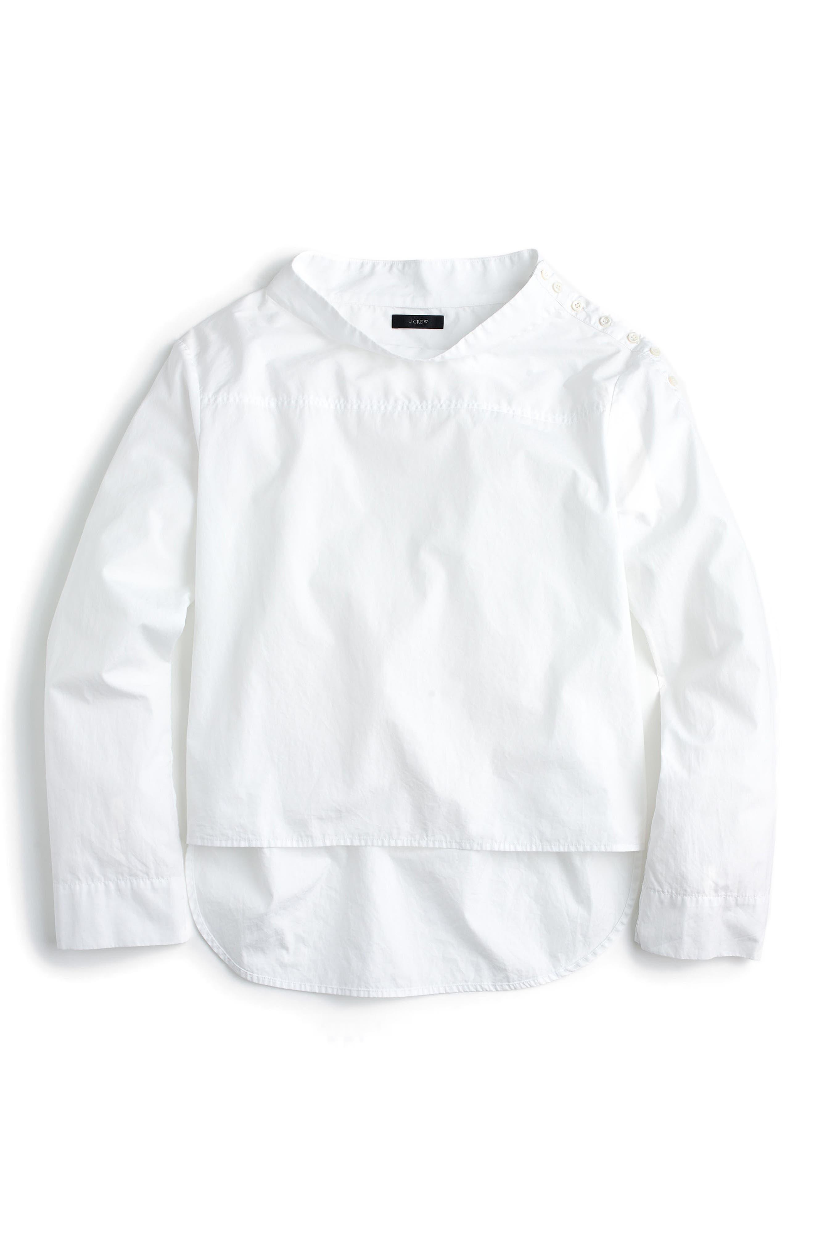 J.Crew Funnel Neck Stripe Shirt (Regular & Petite)