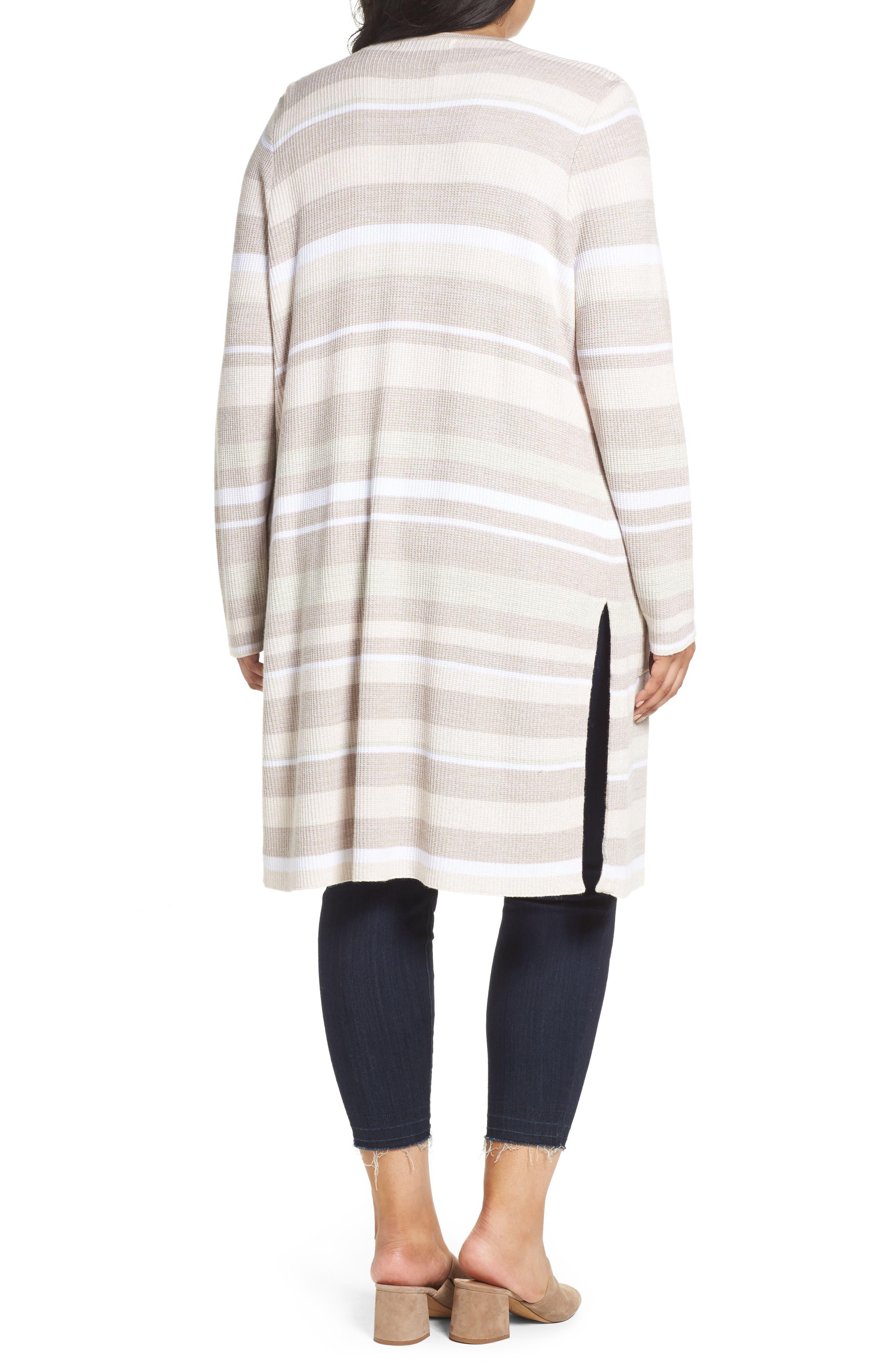 Alternate Image 2  - Foxcroft Rhona Textured Stripe Longline Cardigan (Plus Size)
