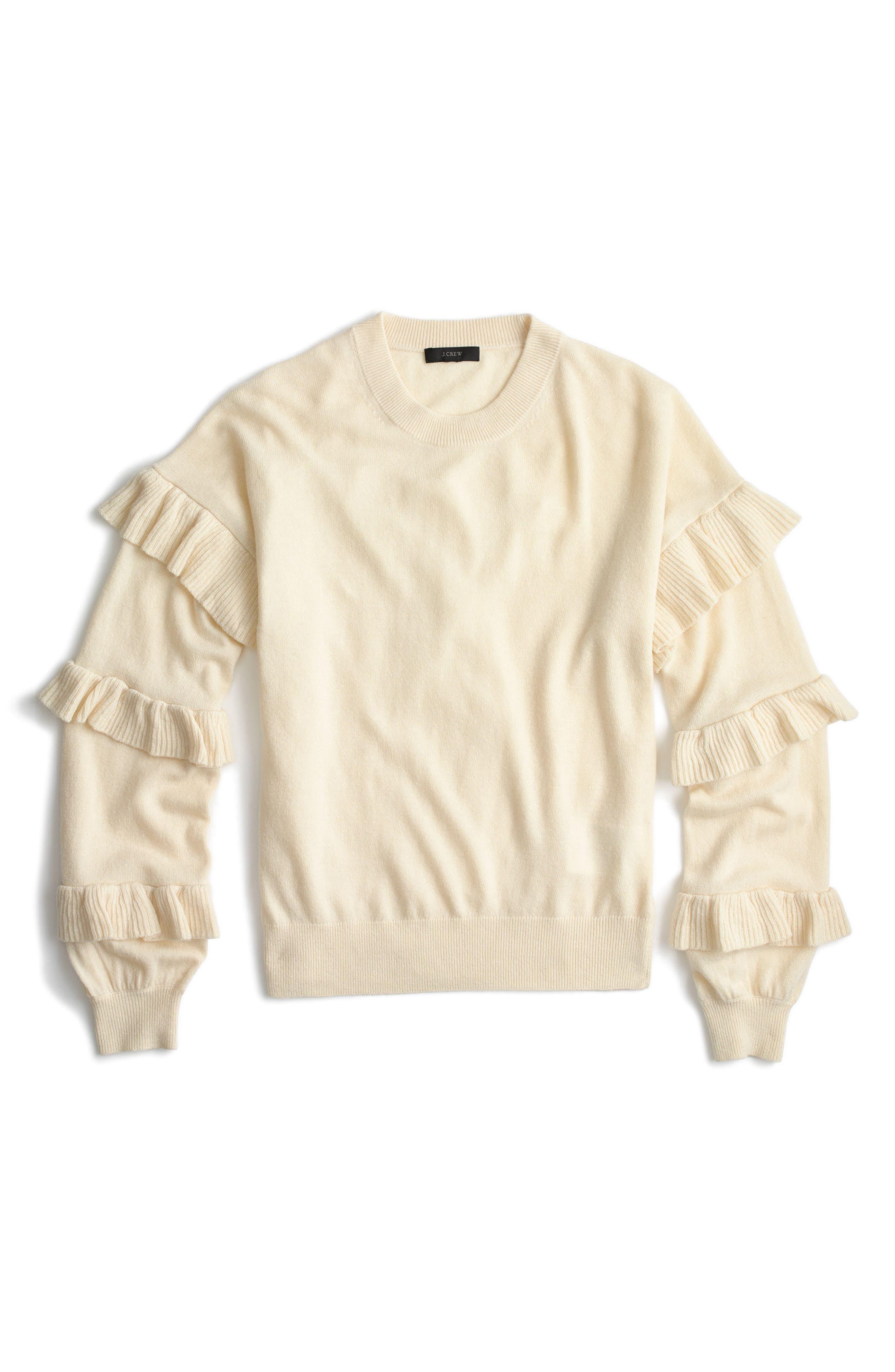 Ruffle Sleeve Sweater,                         Main,                         color, Heather Muslin