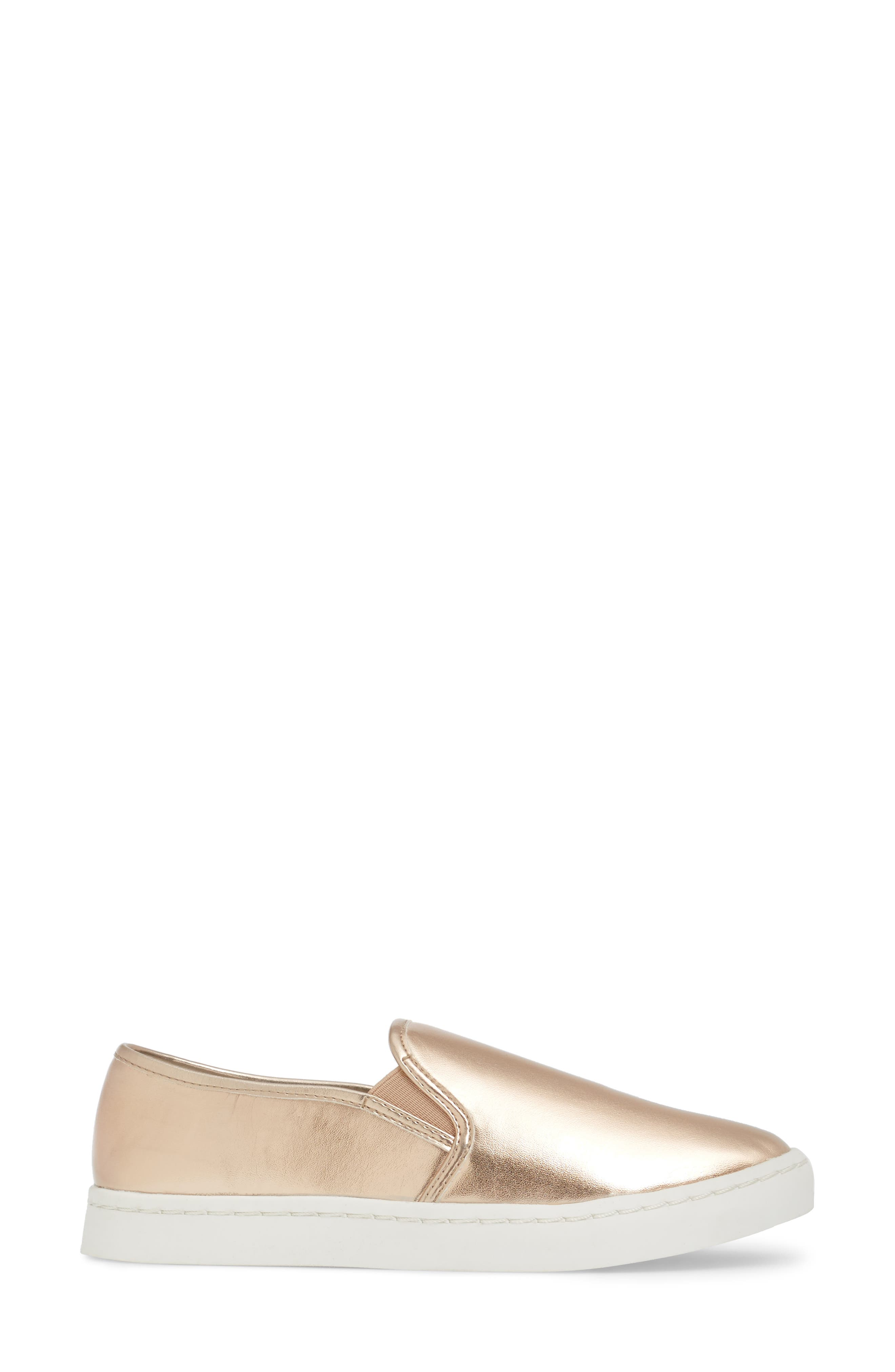 'Twiny' Slip-On Sneaker,                             Alternate thumbnail 3, color,                             Rose Gold Faux Leather
