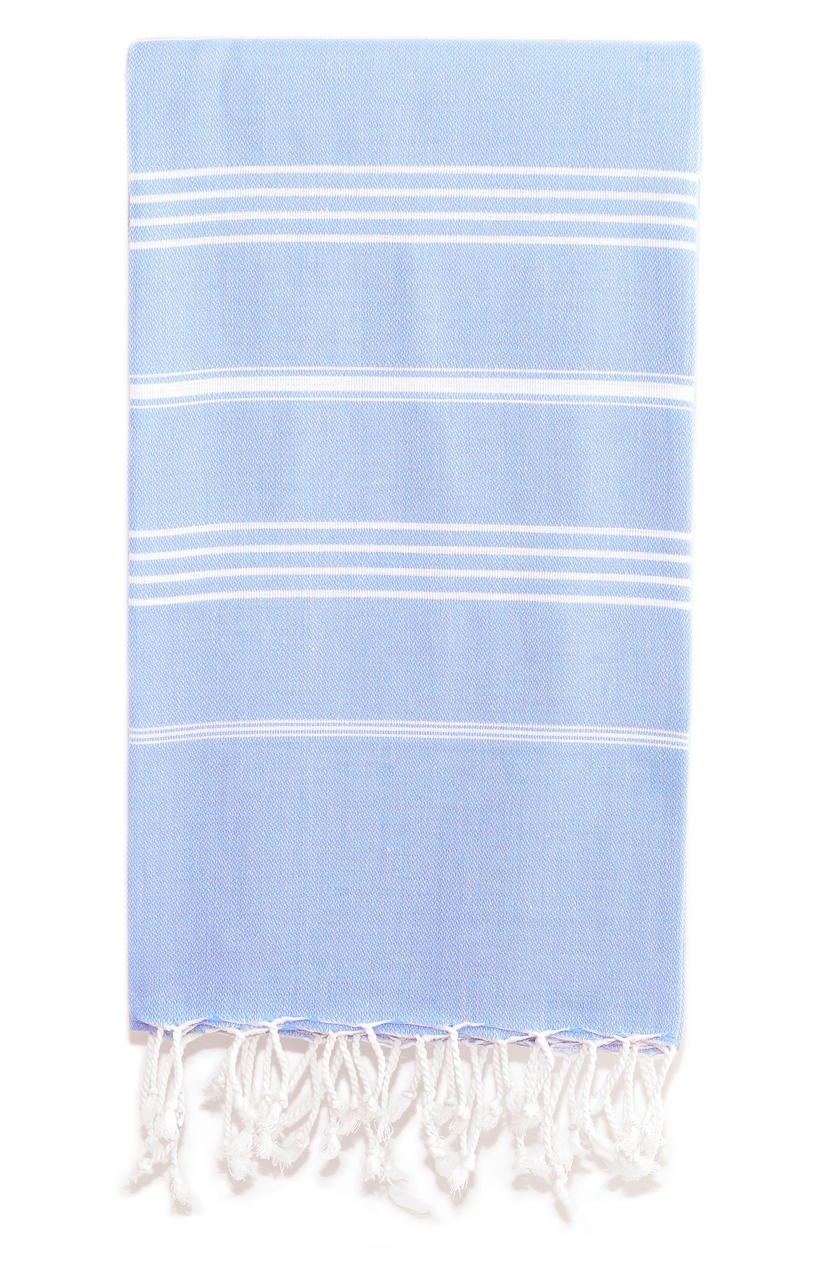 'Lucky' Turkish Pestemal Towel,                         Main,                         color, Sky Blue