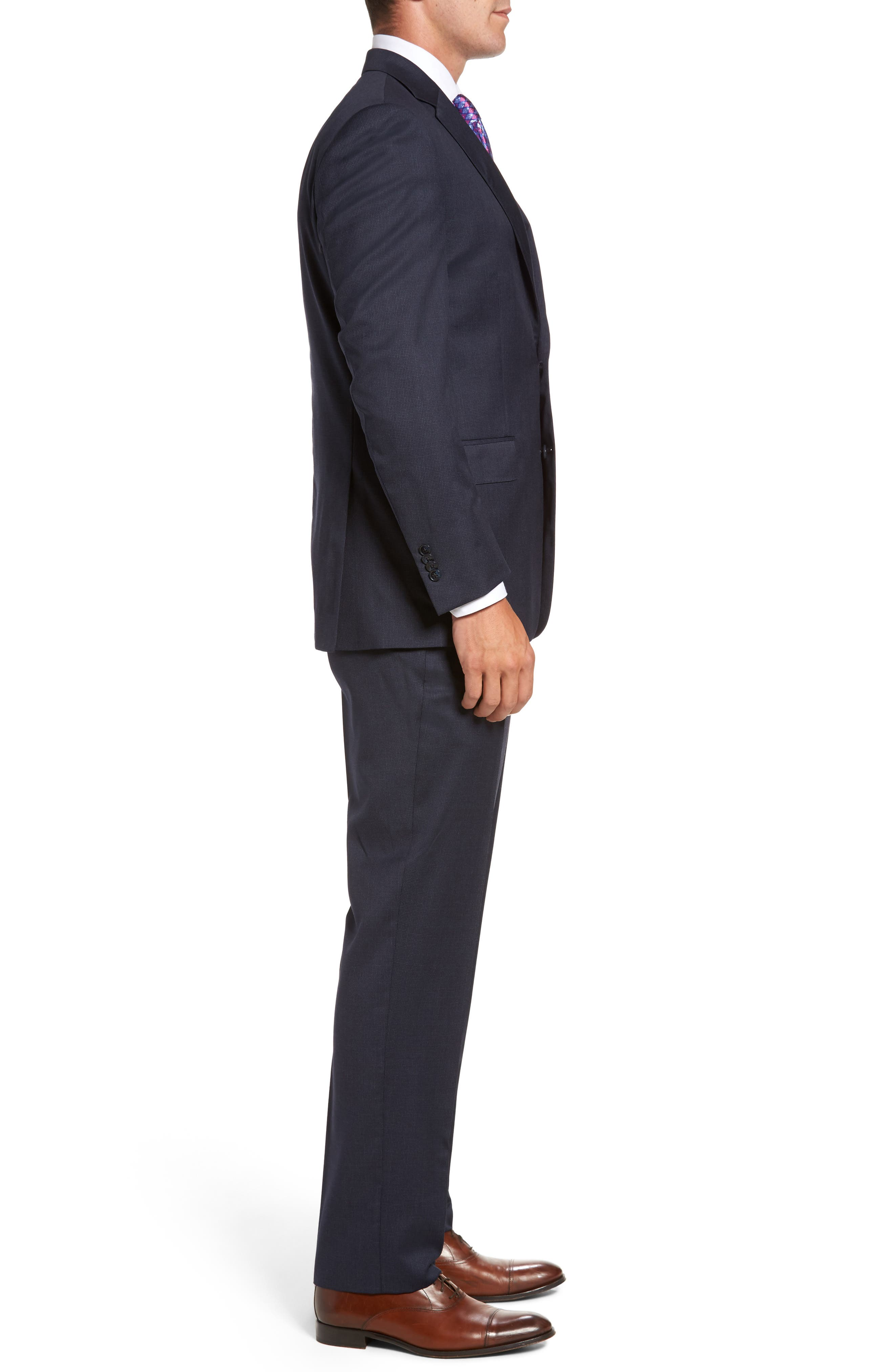 Flynn Classic Fit Check Wool Suit,                             Alternate thumbnail 3, color,                             Navy
