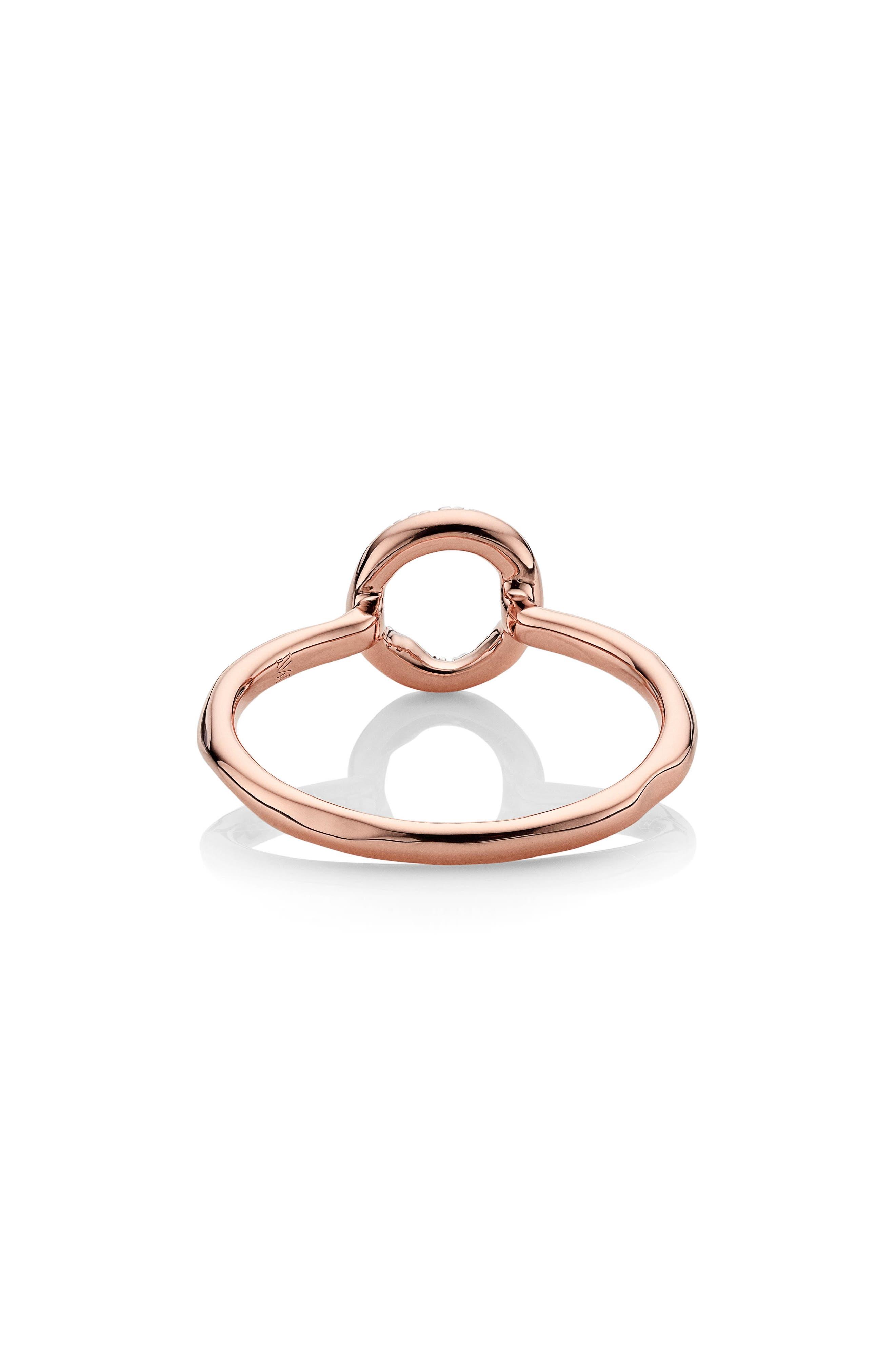 Riva Diamond Mini Circle Ring,                             Alternate thumbnail 4, color,                             Rose Gold/ Diamond