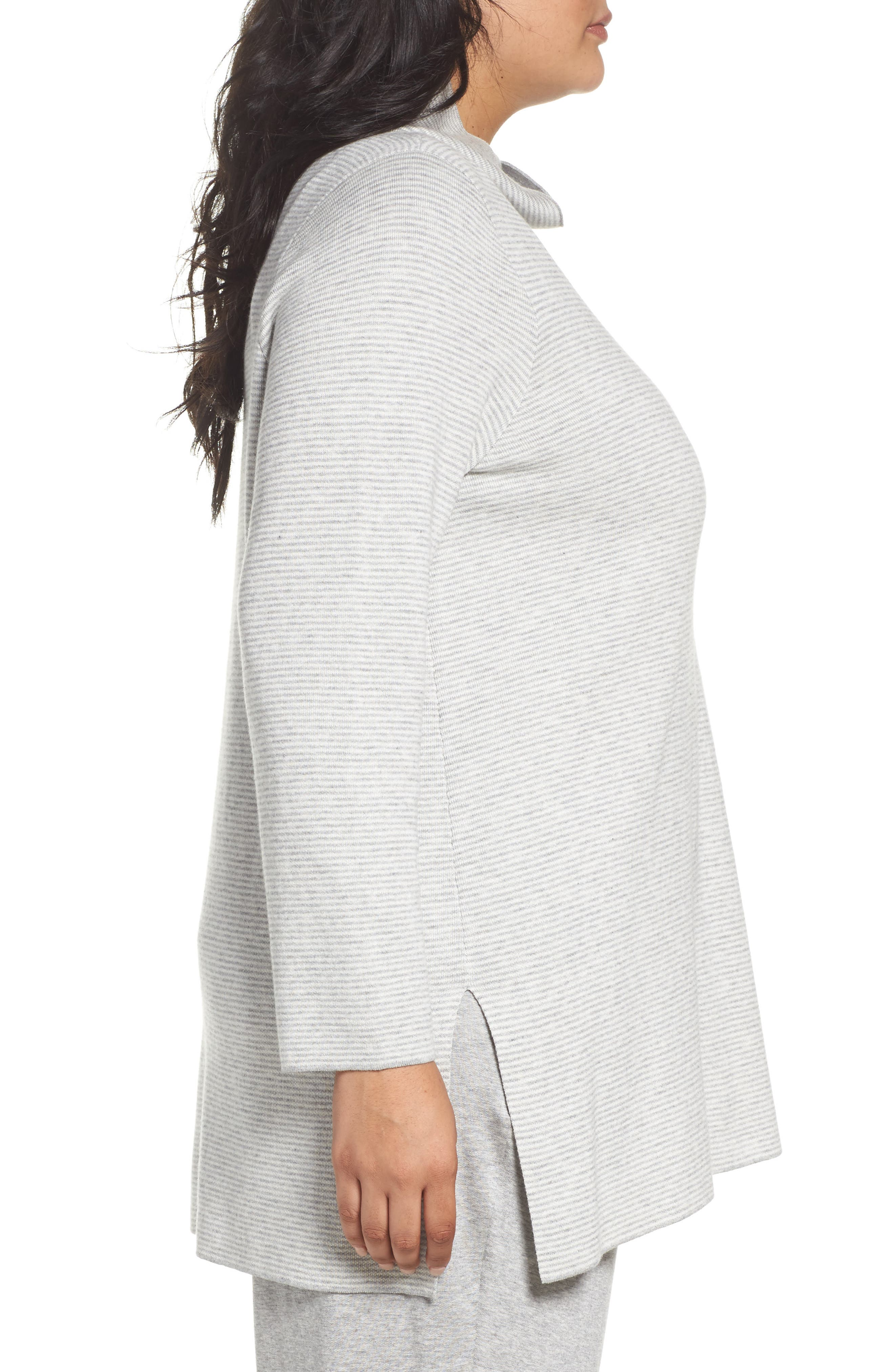 Reversible Funnel Neck Tunic Sweater,                             Alternate thumbnail 3, color,                             Dark Pearl