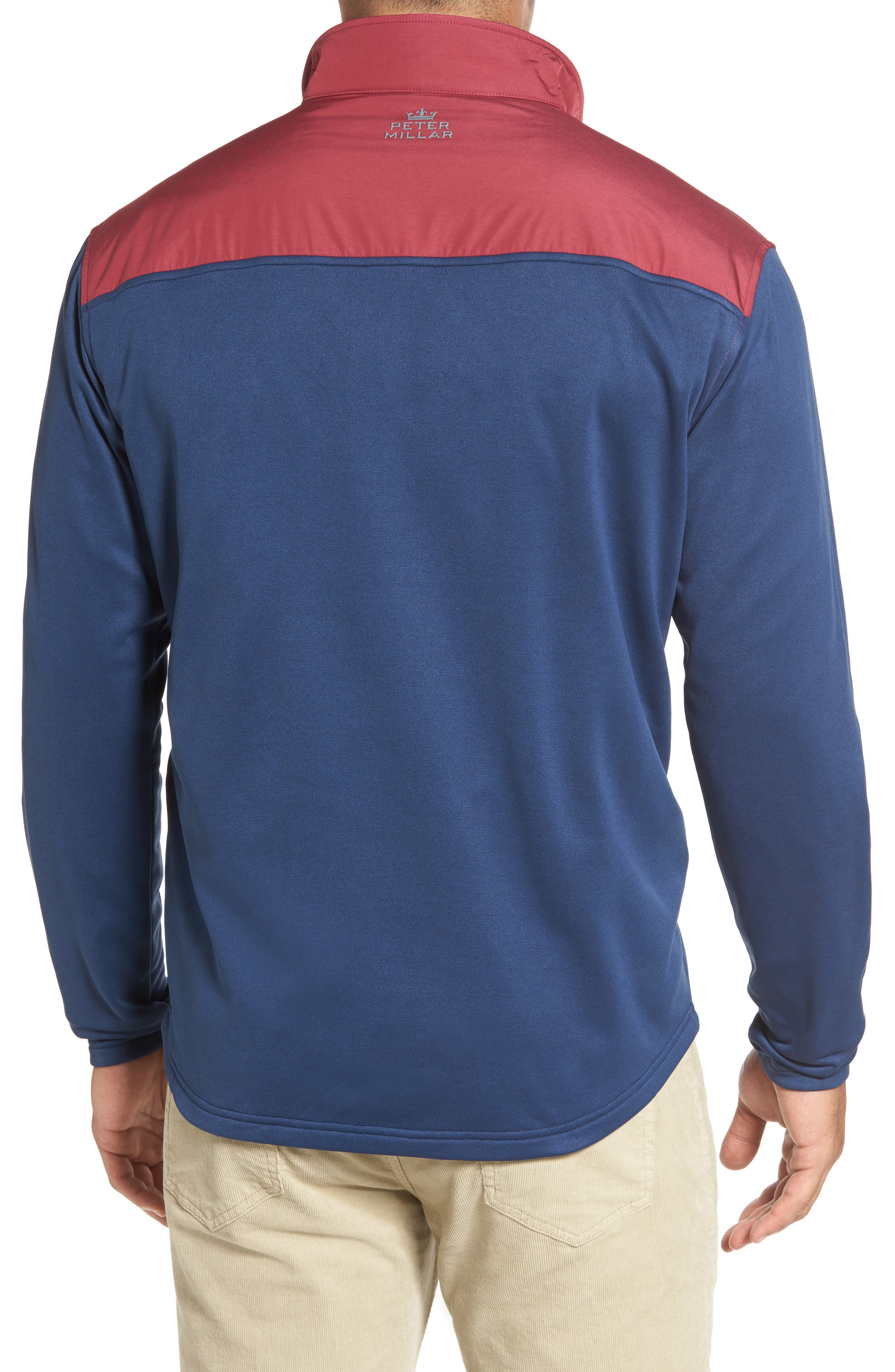 Cameron Hybrid Half Zip Pullover,                             Alternate thumbnail 2, color,                             Midnight/ French Wine