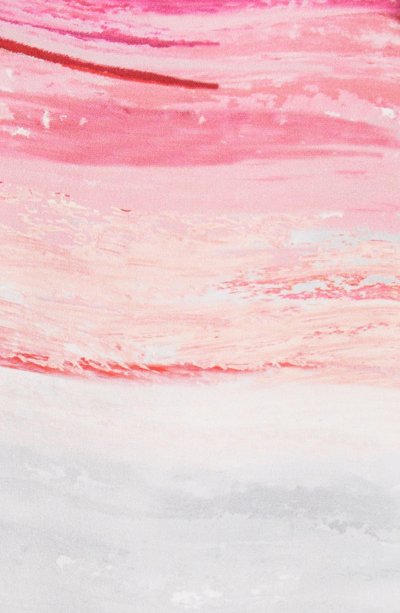Textured Brushstroke Print Silk Satin Dress,                             Alternate thumbnail 6, color,                             Bright Coral Multi