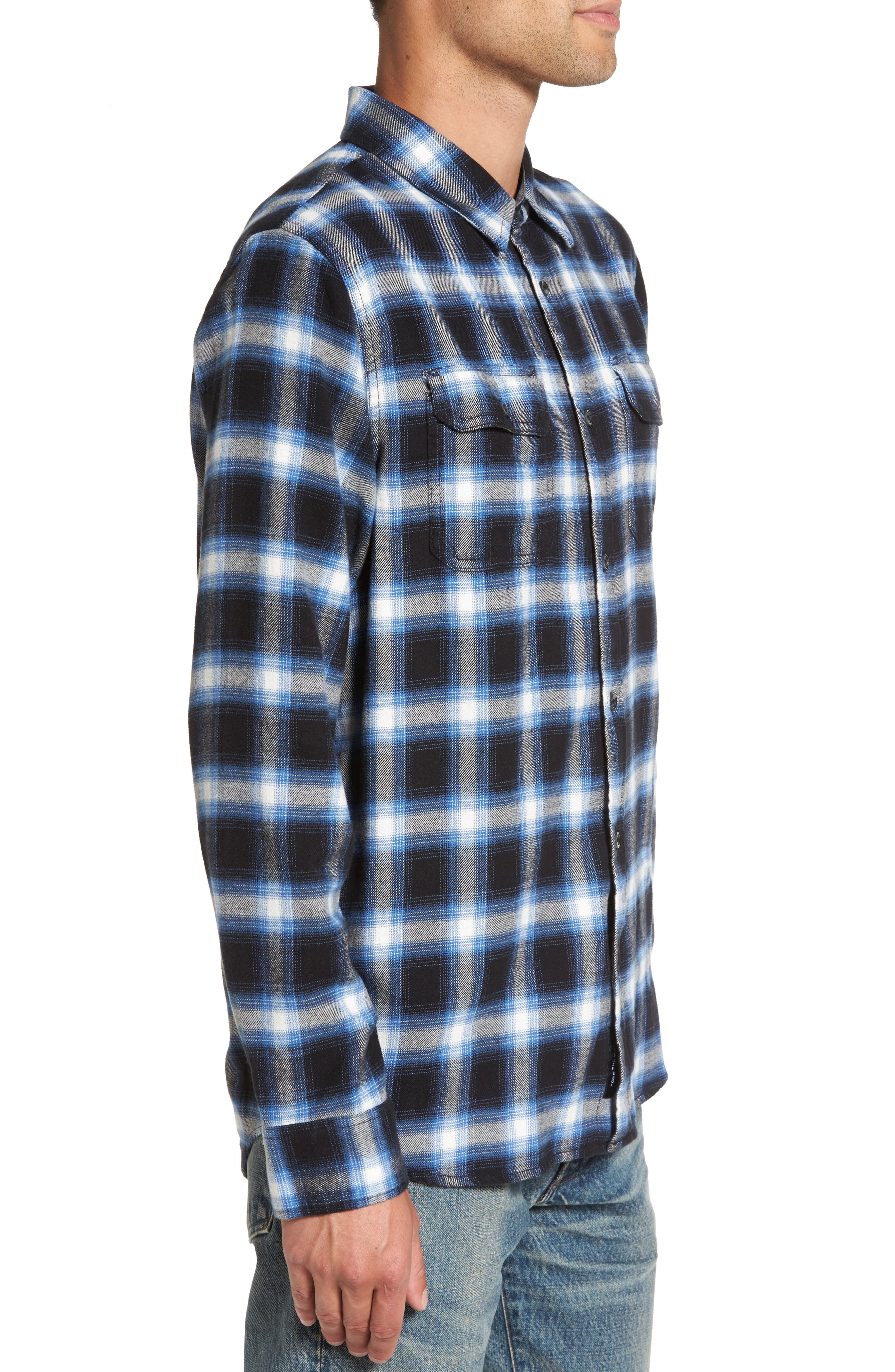Beachwood Flannel Shirt,                             Alternate thumbnail 3, color,                             Black/ Delft