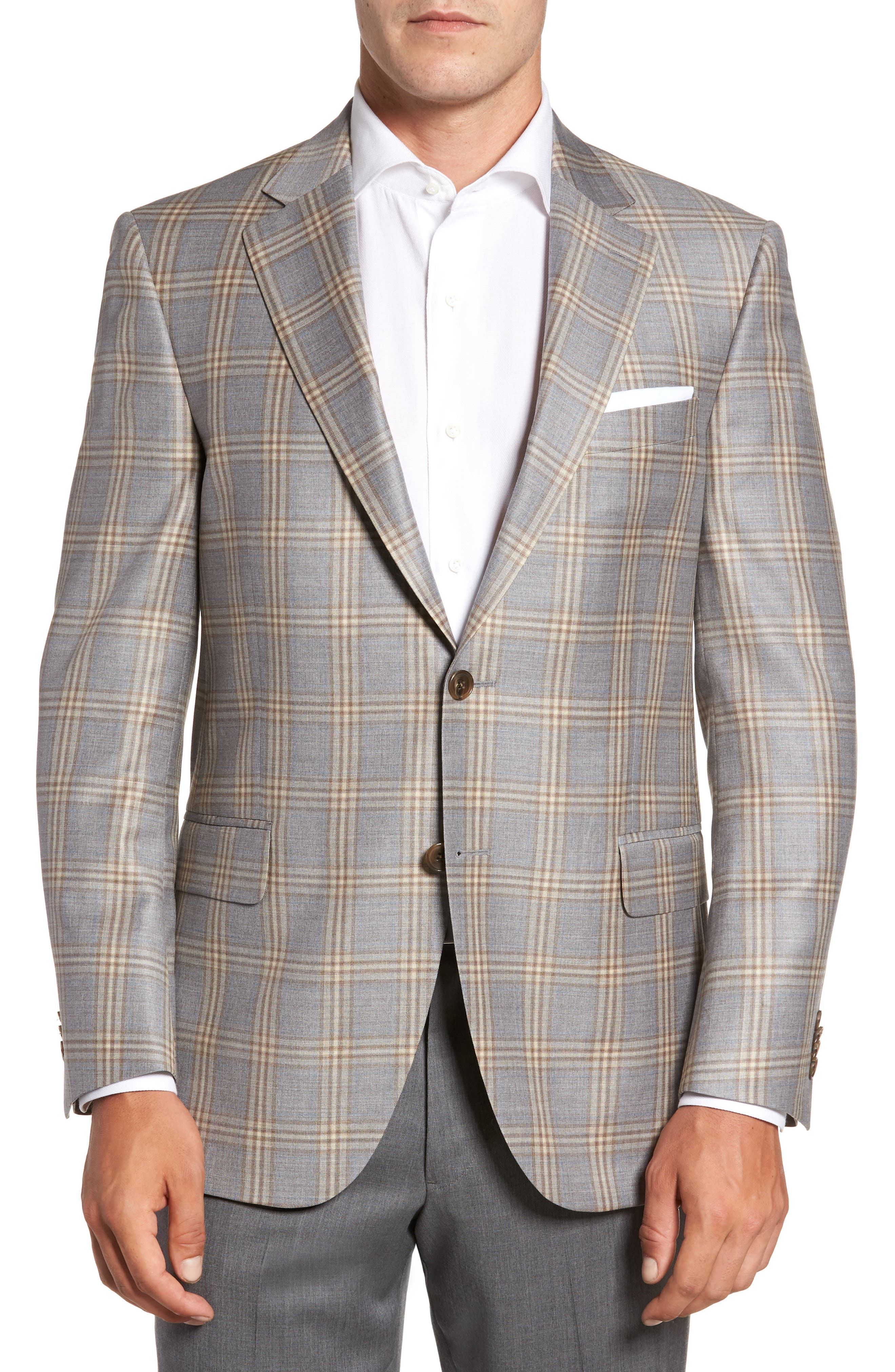 Flynn Classic Fit Plaid Wool Sport Coat,                             Main thumbnail 1, color,                             Grey