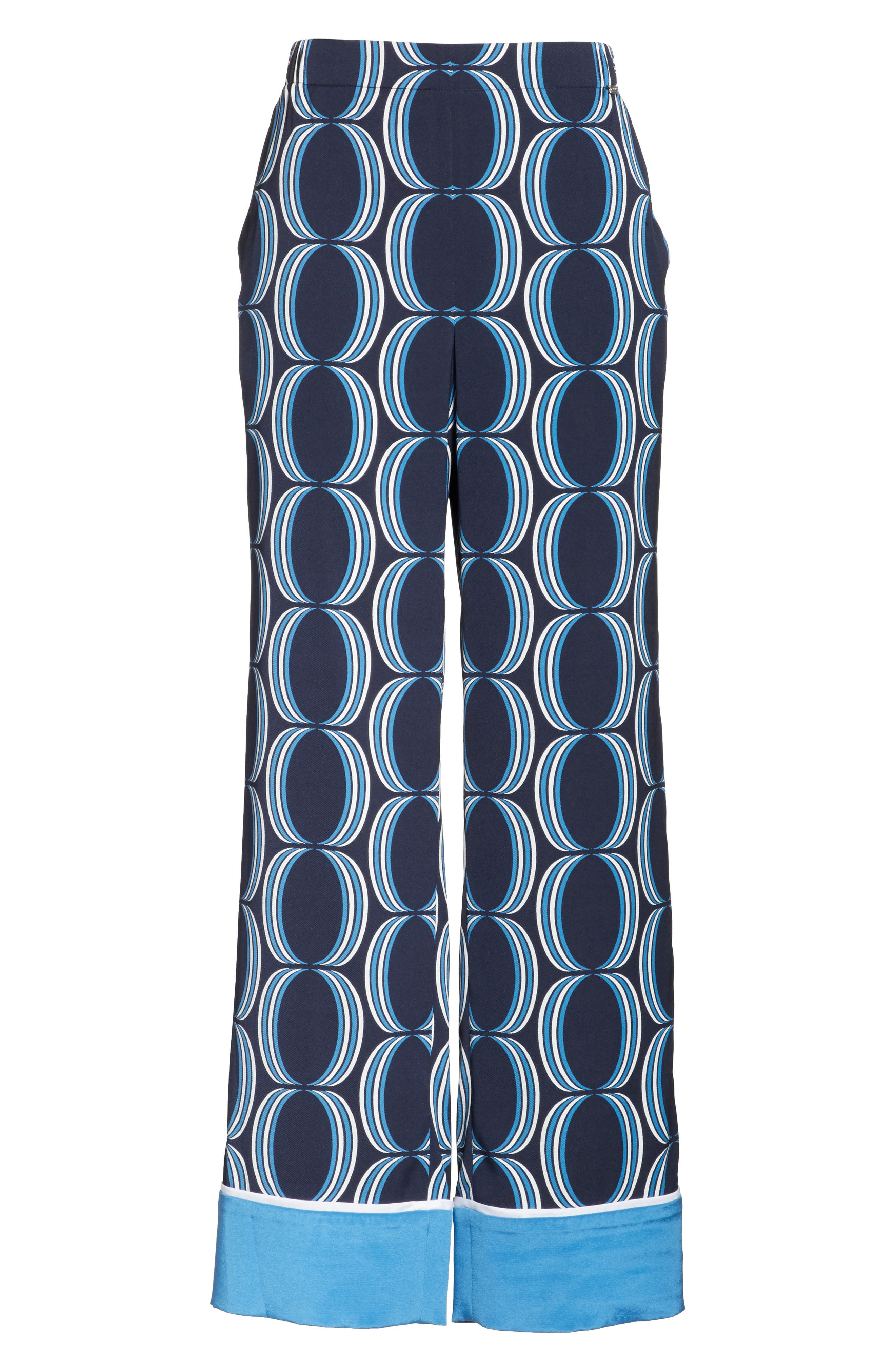Oval Print Stretch Silk Twill Pants,                             Alternate thumbnail 6, color,                             Navy Multi