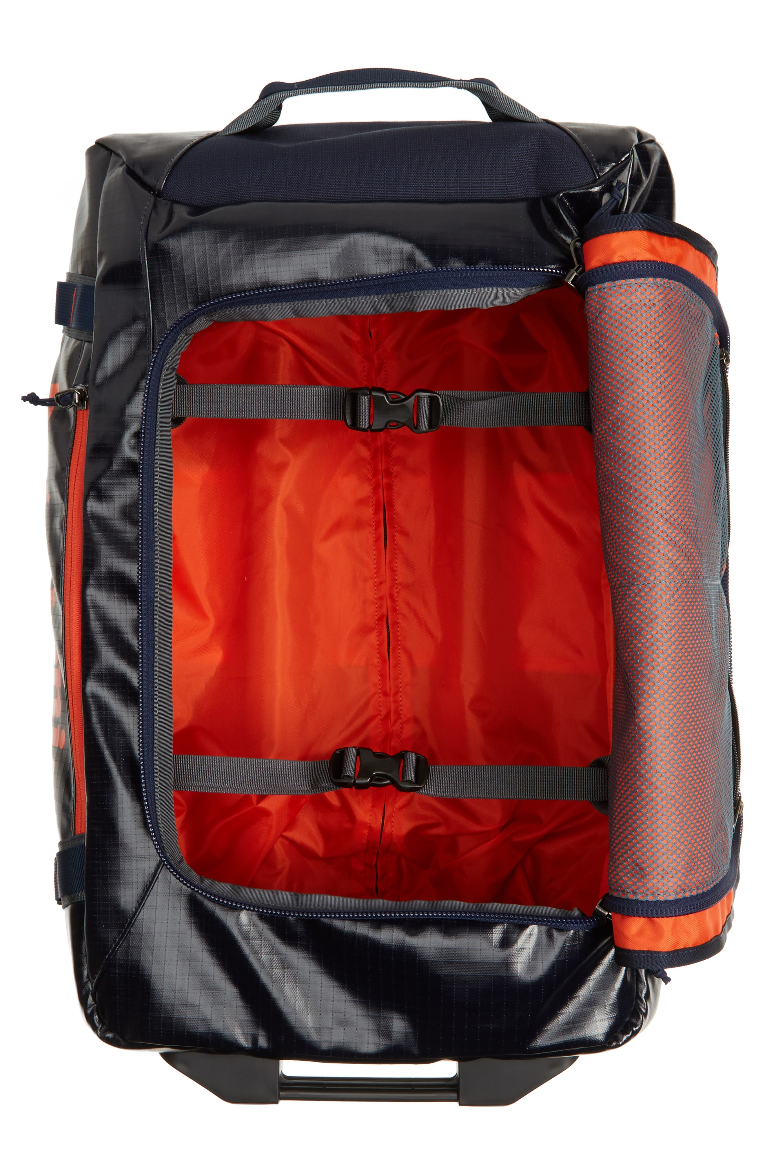 Black Hole 40-Liter Rolling Duffel Bag,                             Alternate thumbnail 2, color,                             Navy Blue/ Paintbrush Red