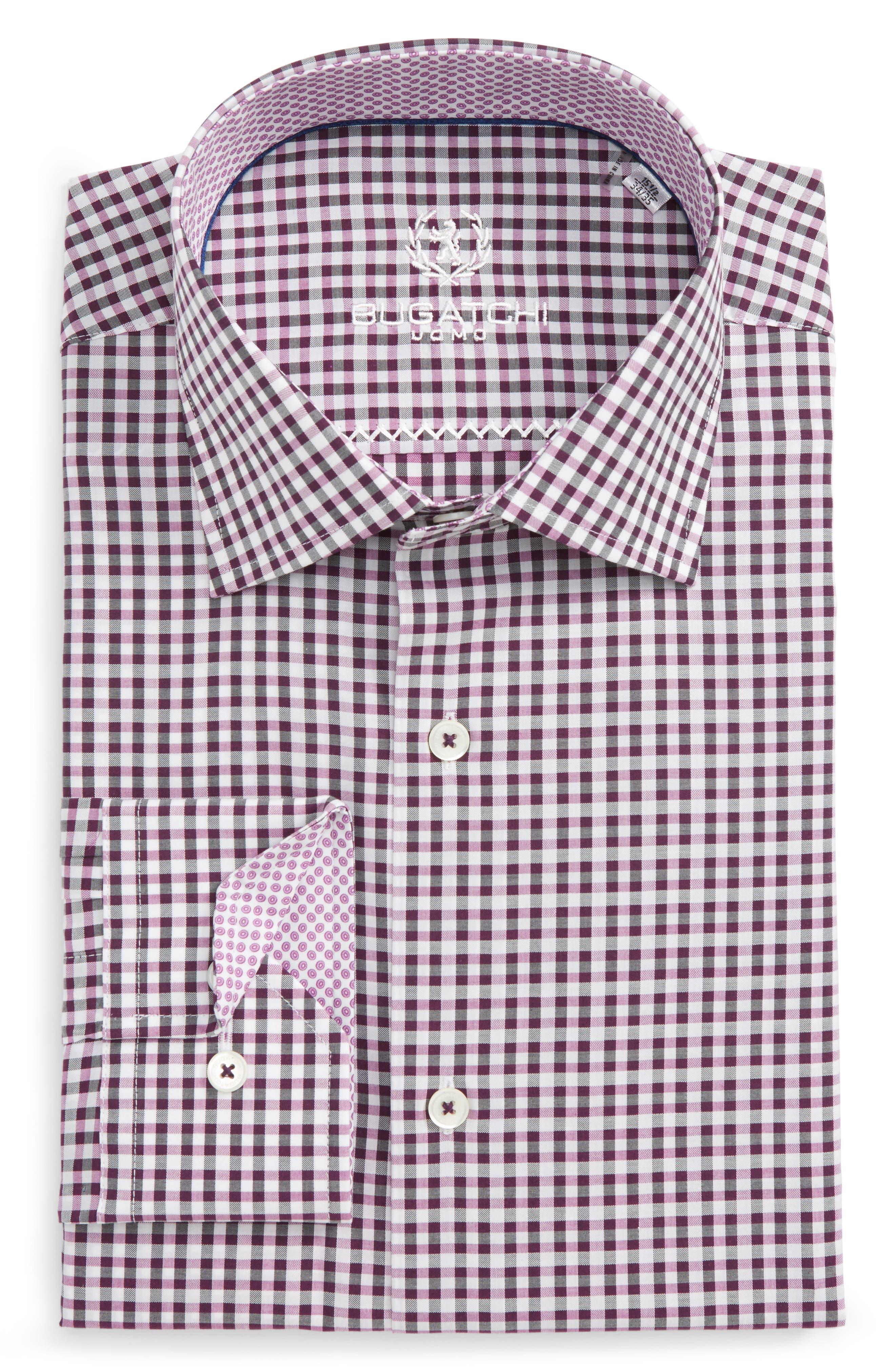 Trim Fit Check Dress Shirt,                             Main thumbnail 1, color,                             Plum