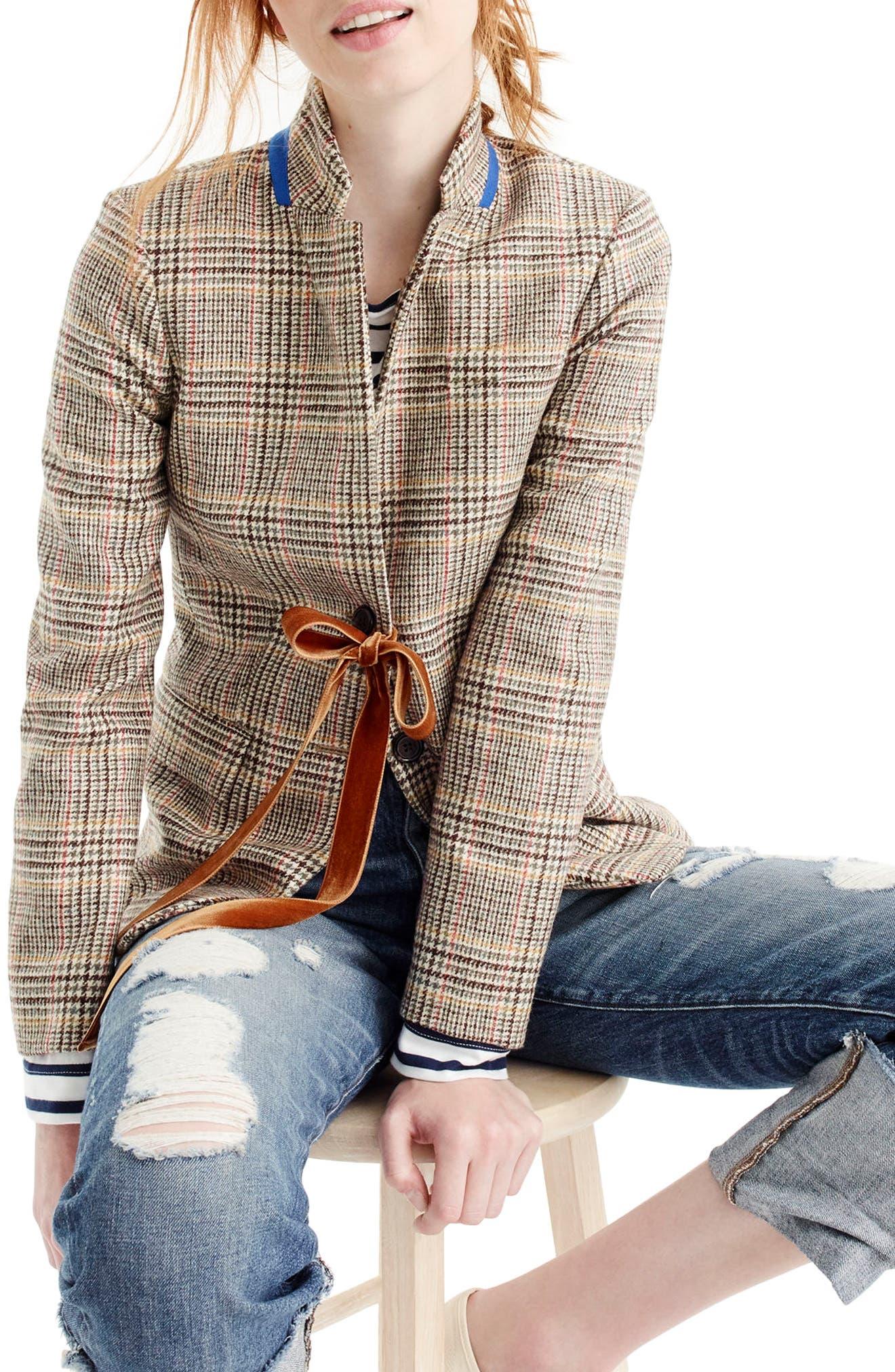 J.Crew Plaid Regent Blazer with Velvet Tie,                         Main,                         color, Olive Mustard Red