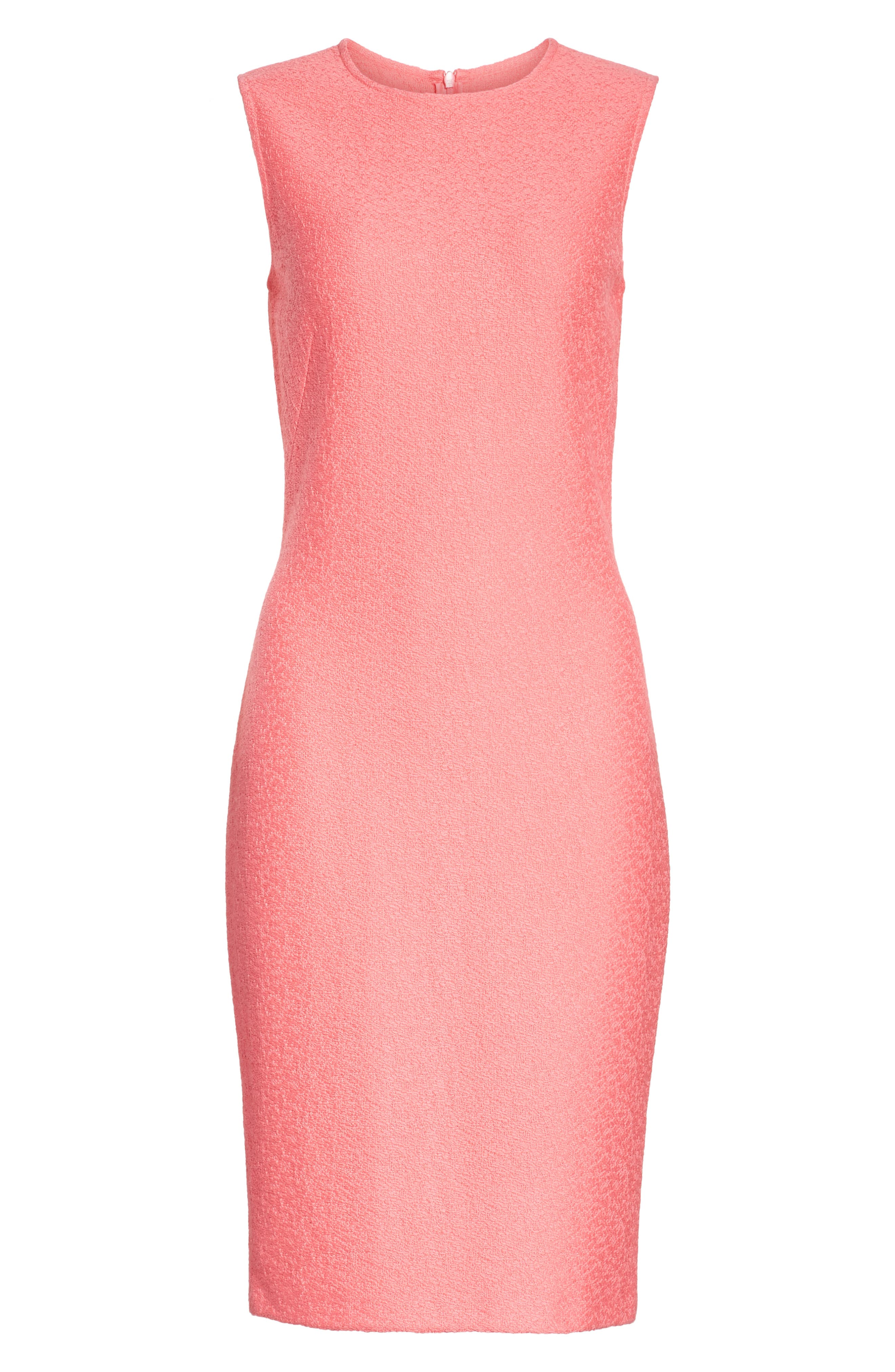 Hannah Knit Sheath Dress,                             Alternate thumbnail 8, color,                             Bright Coral