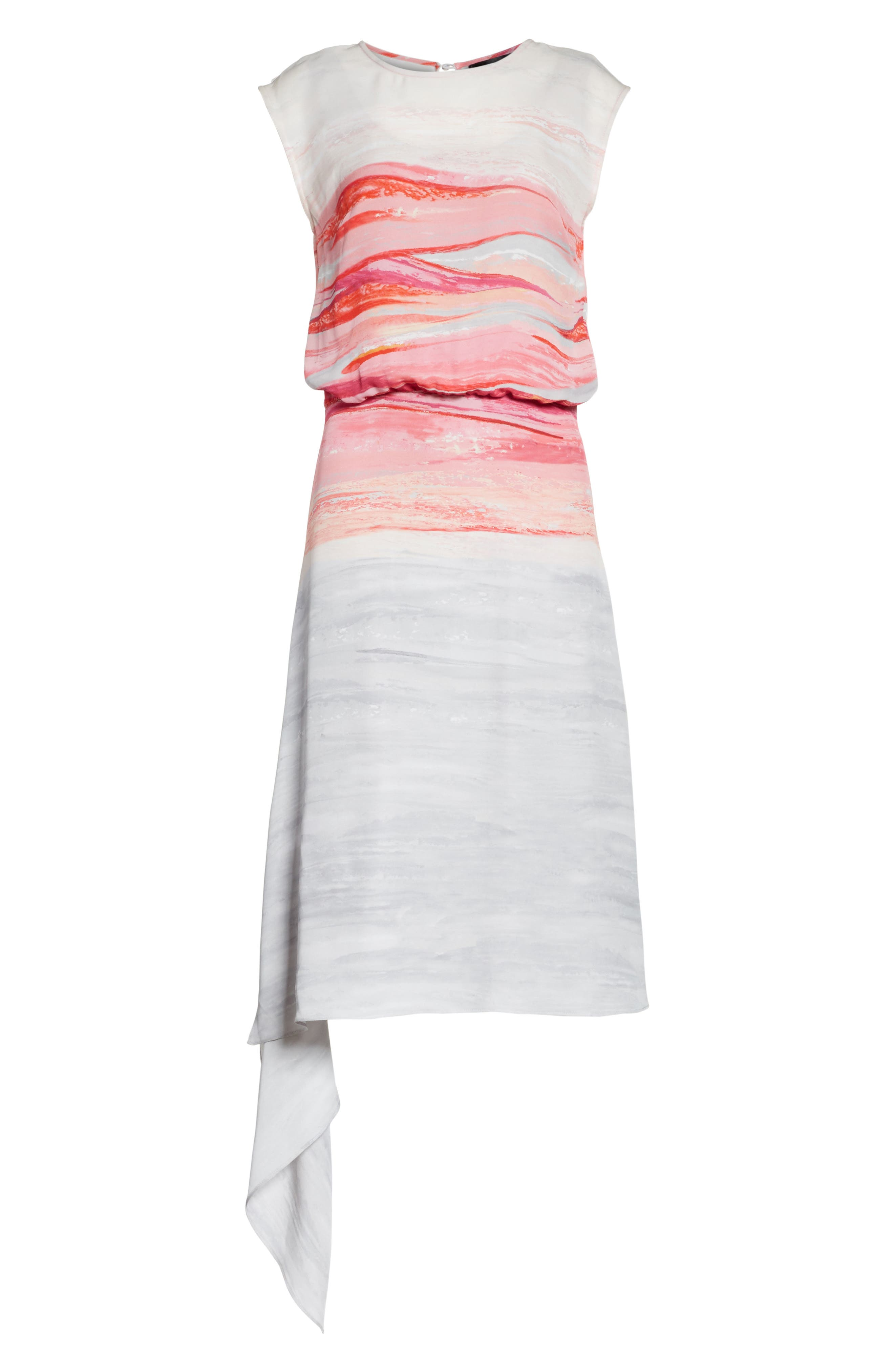 Textured Brushstroke Print Silk Satin Dress,                             Alternate thumbnail 7, color,                             Bright Coral Multi