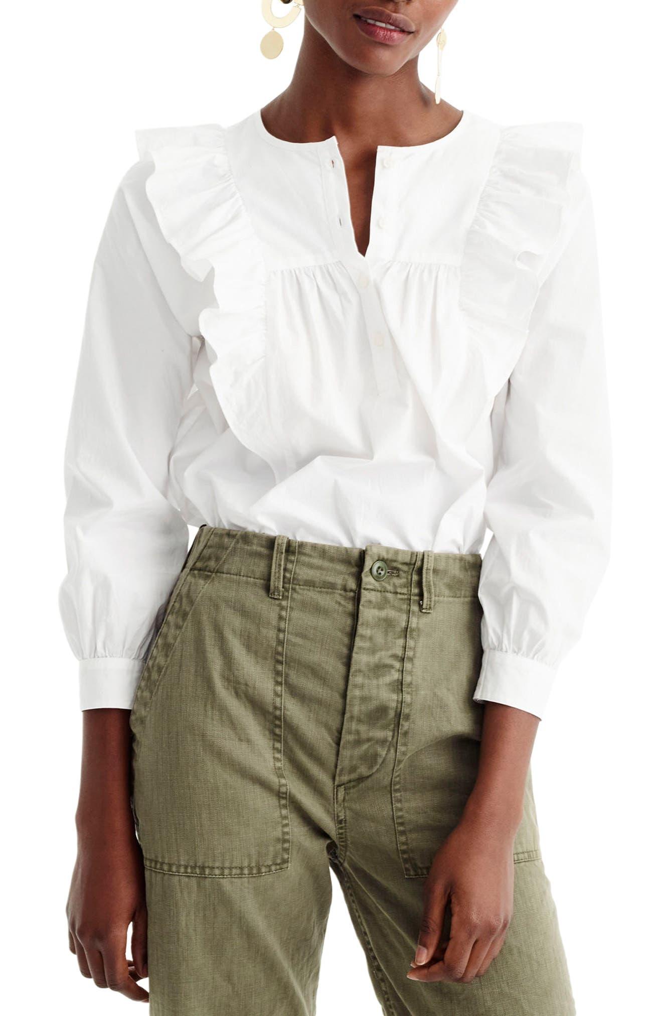 Ruffle Front Shirt,                         Main,                         color, White