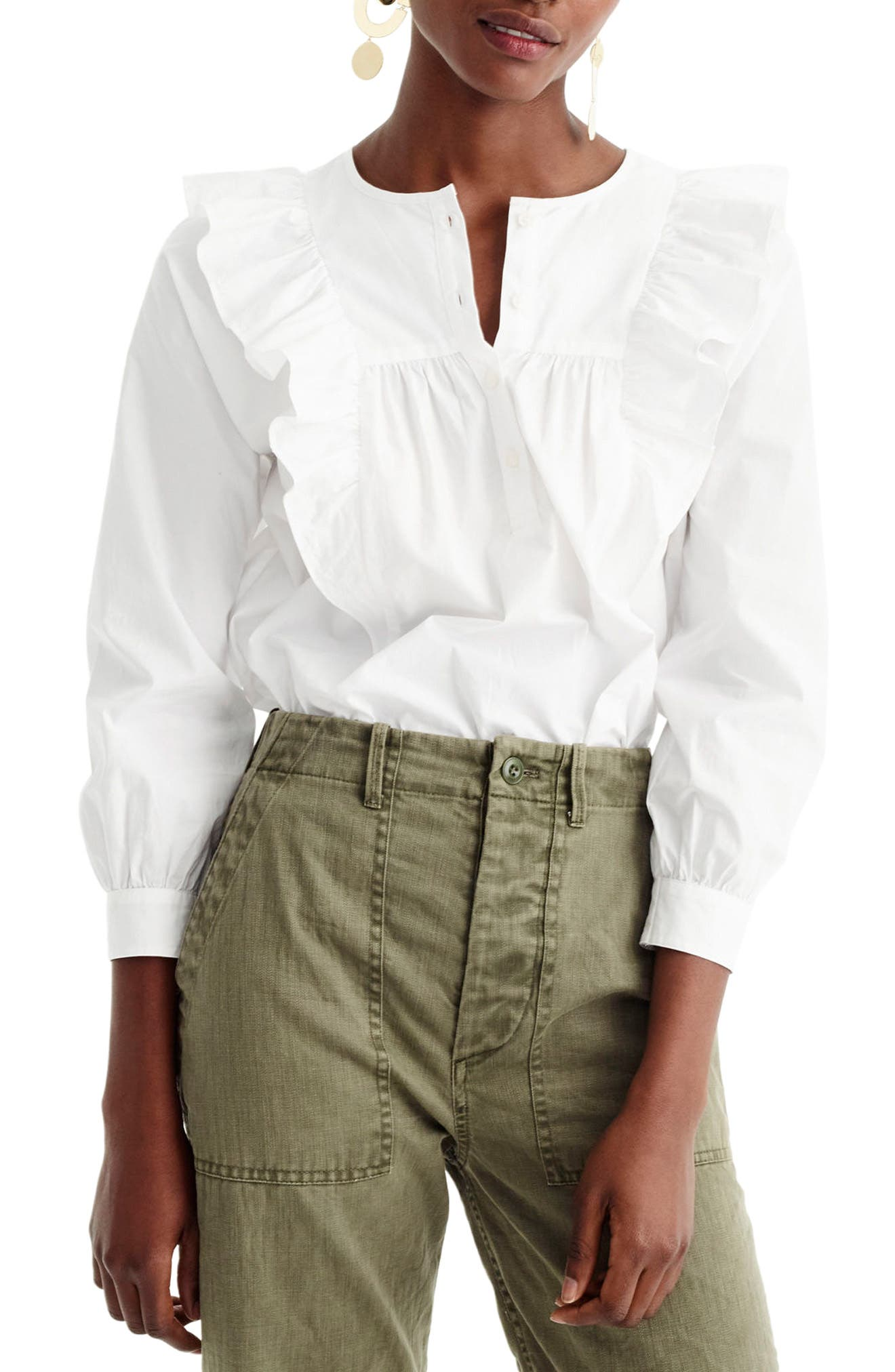 J.Crew Ruffle Front Shirt (Regular & Petite)
