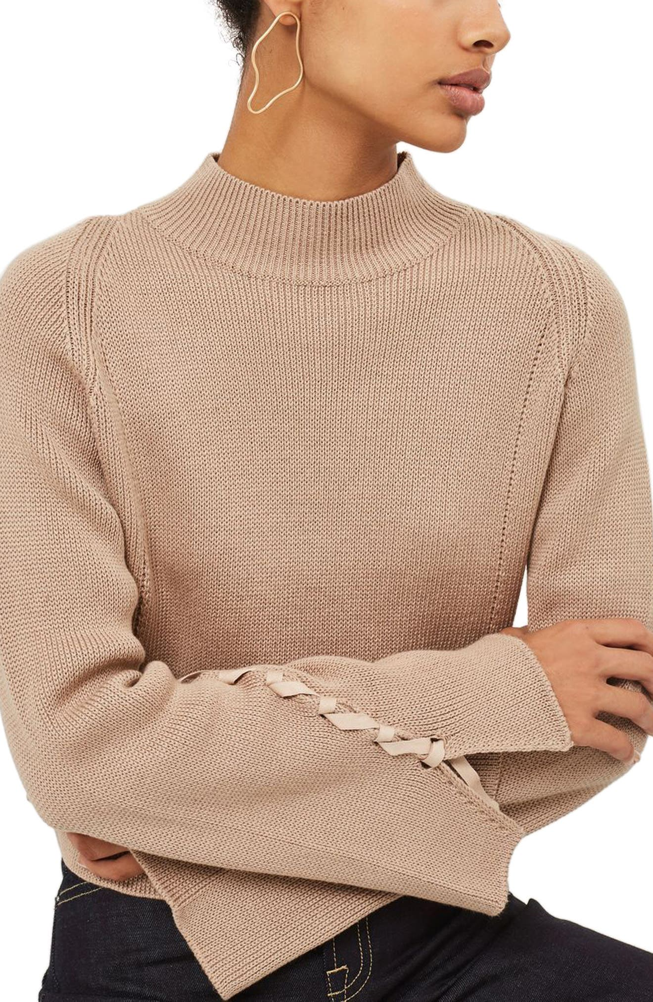 Lace Sleeve Funnel Neck Sweater,                             Main thumbnail 1, color,                             Mink