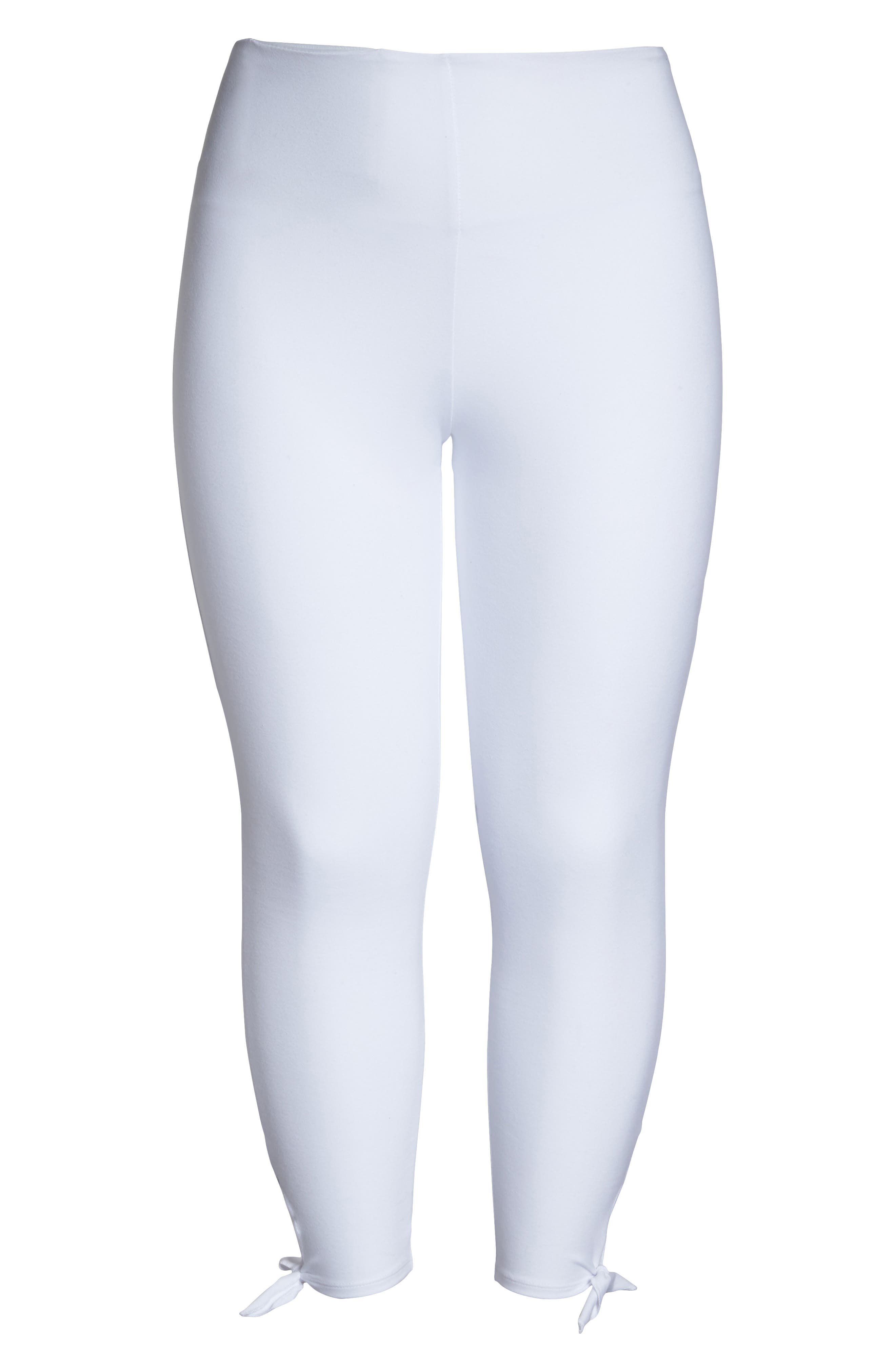 Tie Crop Leggings,                             Alternate thumbnail 4, color,                             White