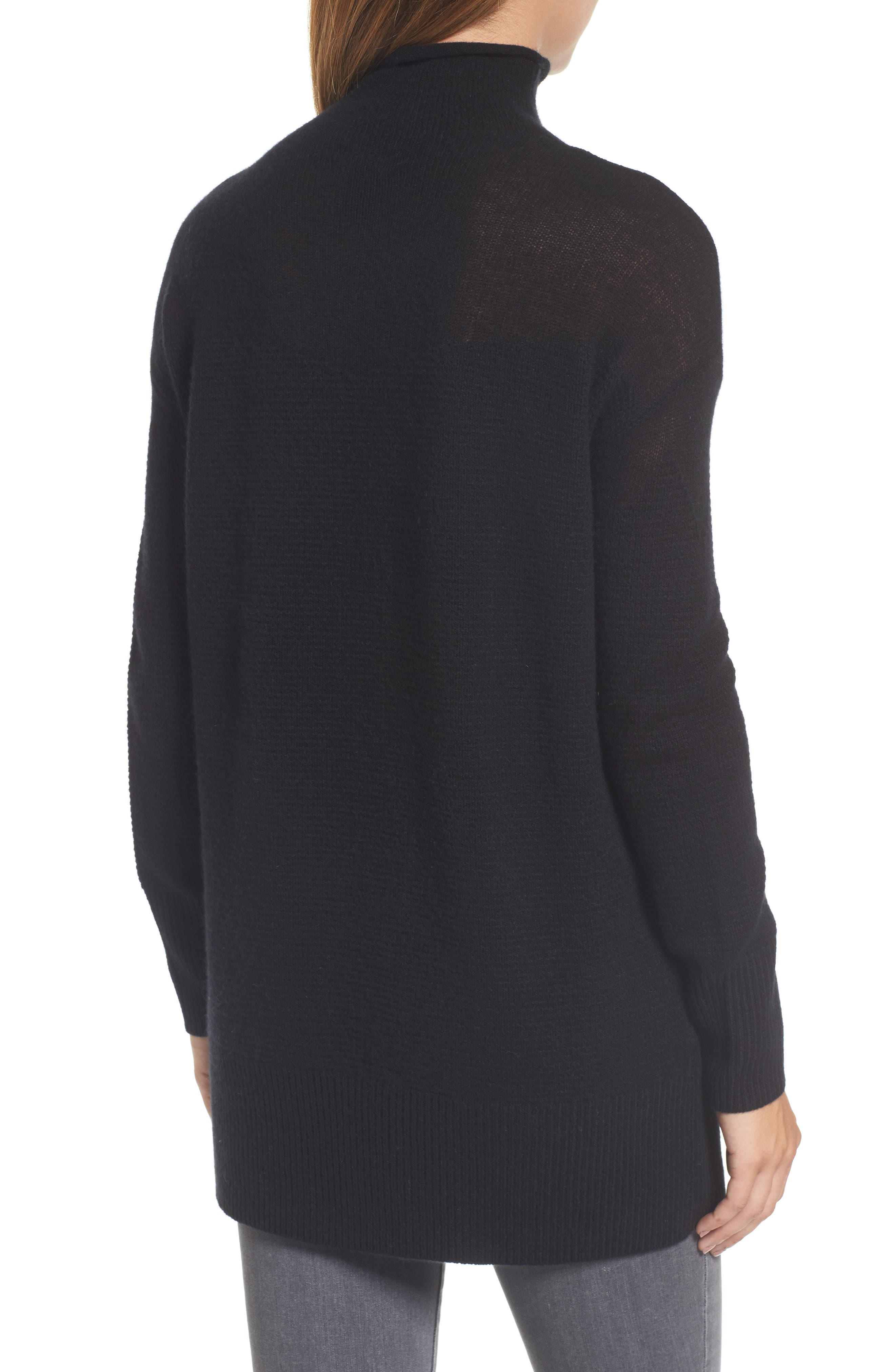 Sheer Yoke Cashmere Sweater,                             Alternate thumbnail 3, color,                             Black