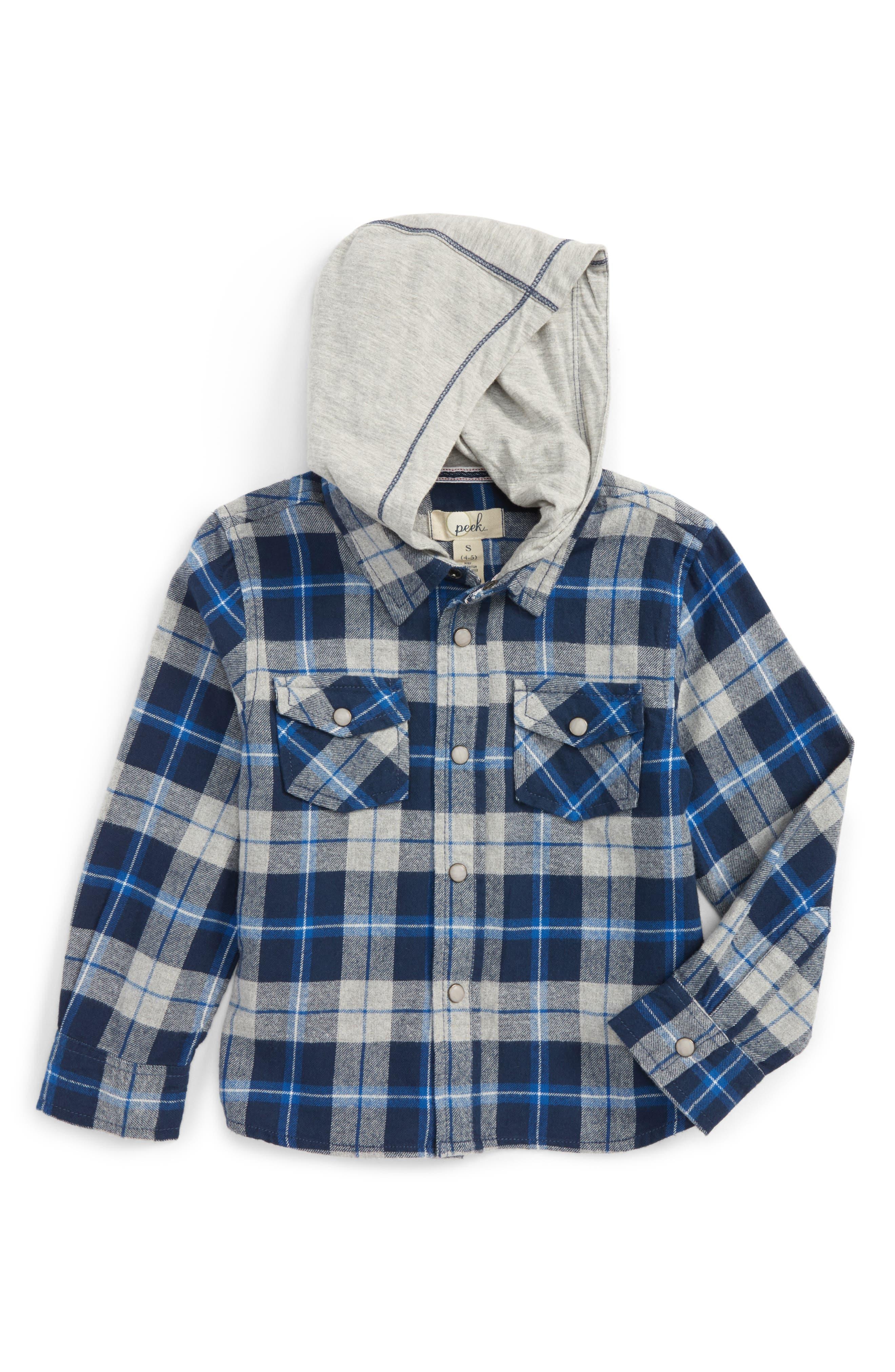 Main Image - Peek Liam Hooded Flannel Shirt (Toddler Boys, Little Boys & Big Boys)