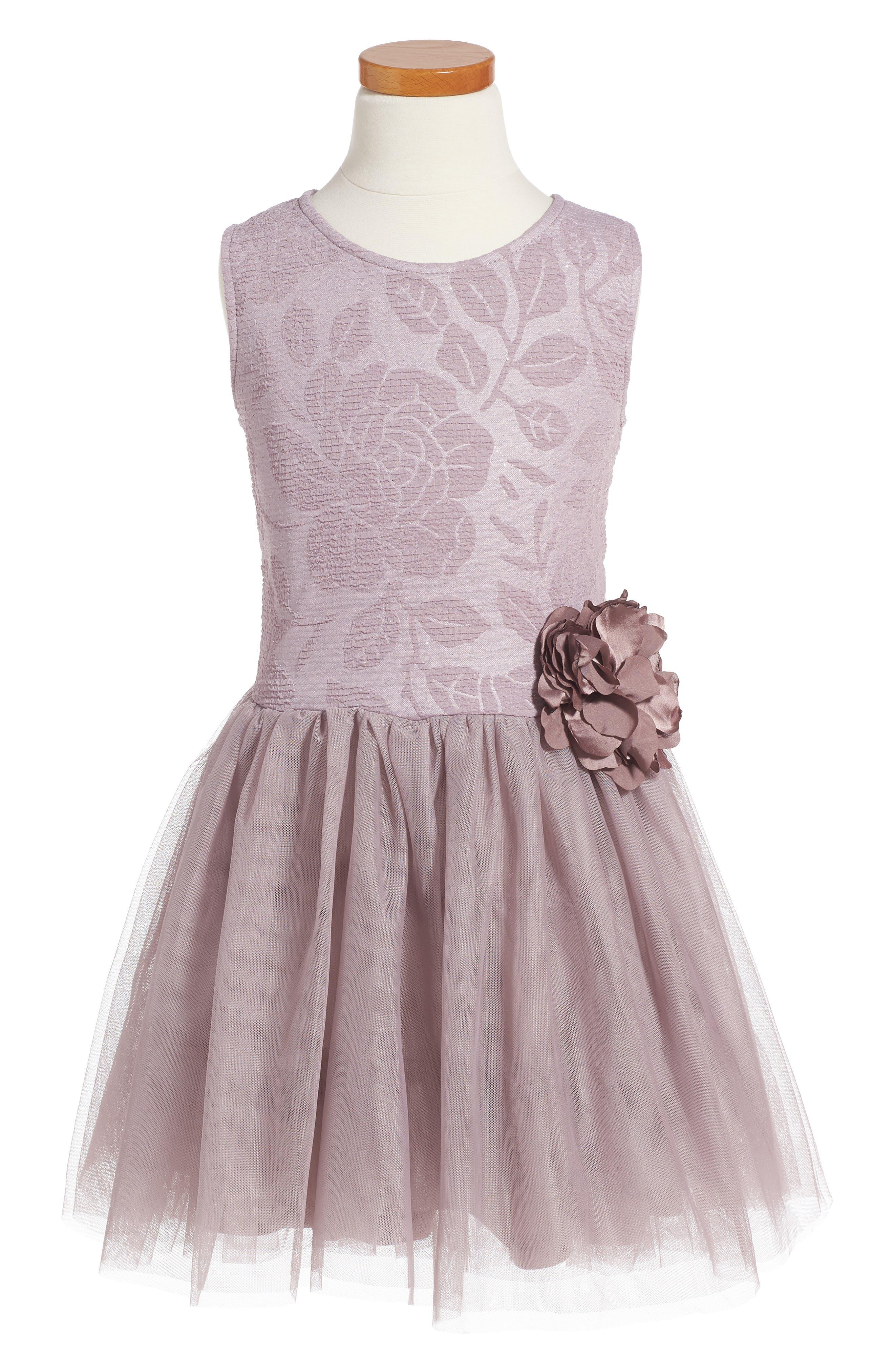 Embossed Rose Tutu Dress,                         Main,                         color, Mauve