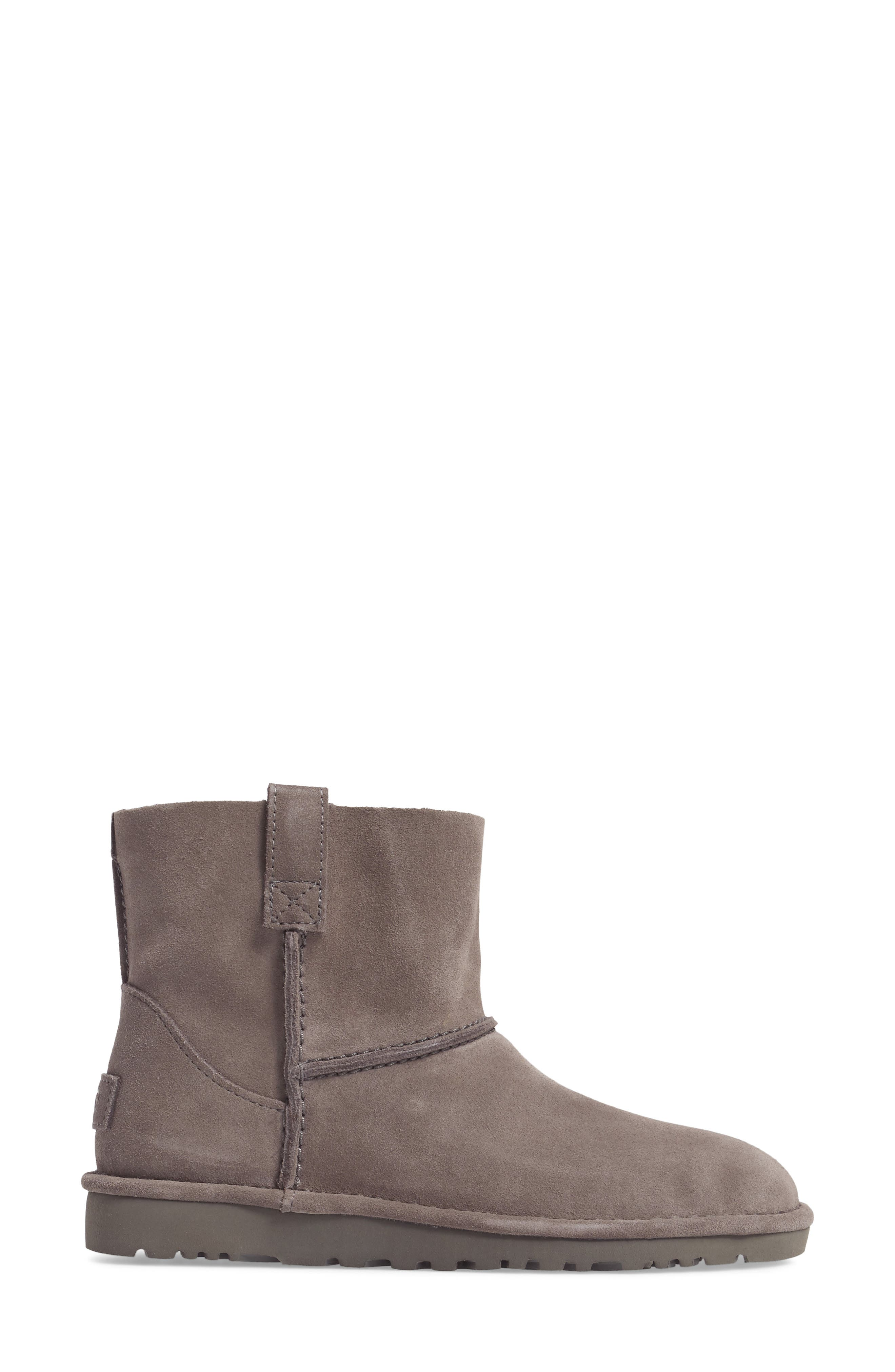 Classic Unlined Mini Boot,                             Alternate thumbnail 3, color,                             Charcoal Suede