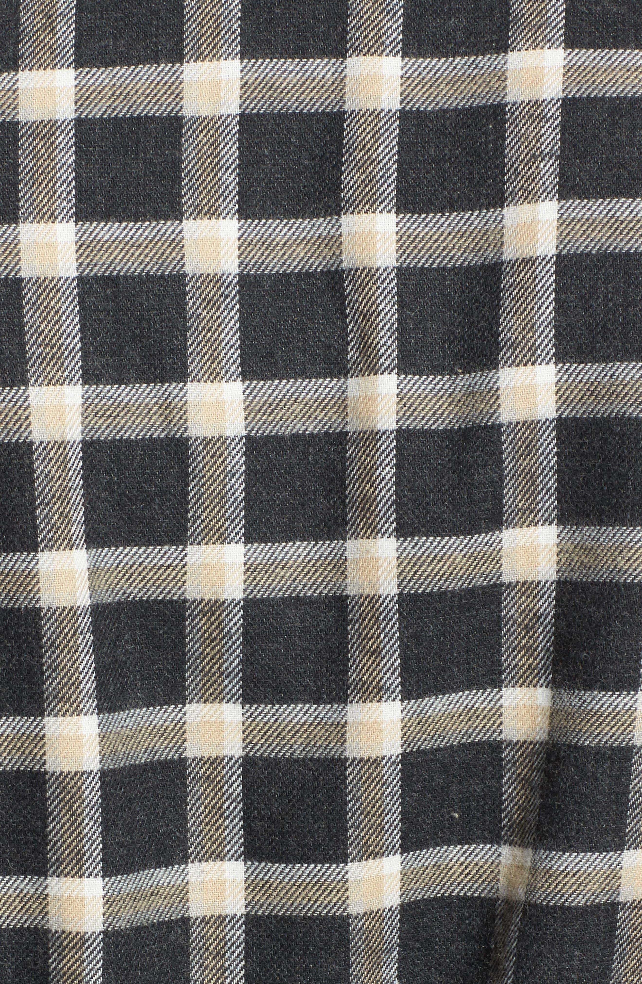 Kalib Plaid Flannel Robe,                             Alternate thumbnail 5, color,                             Black