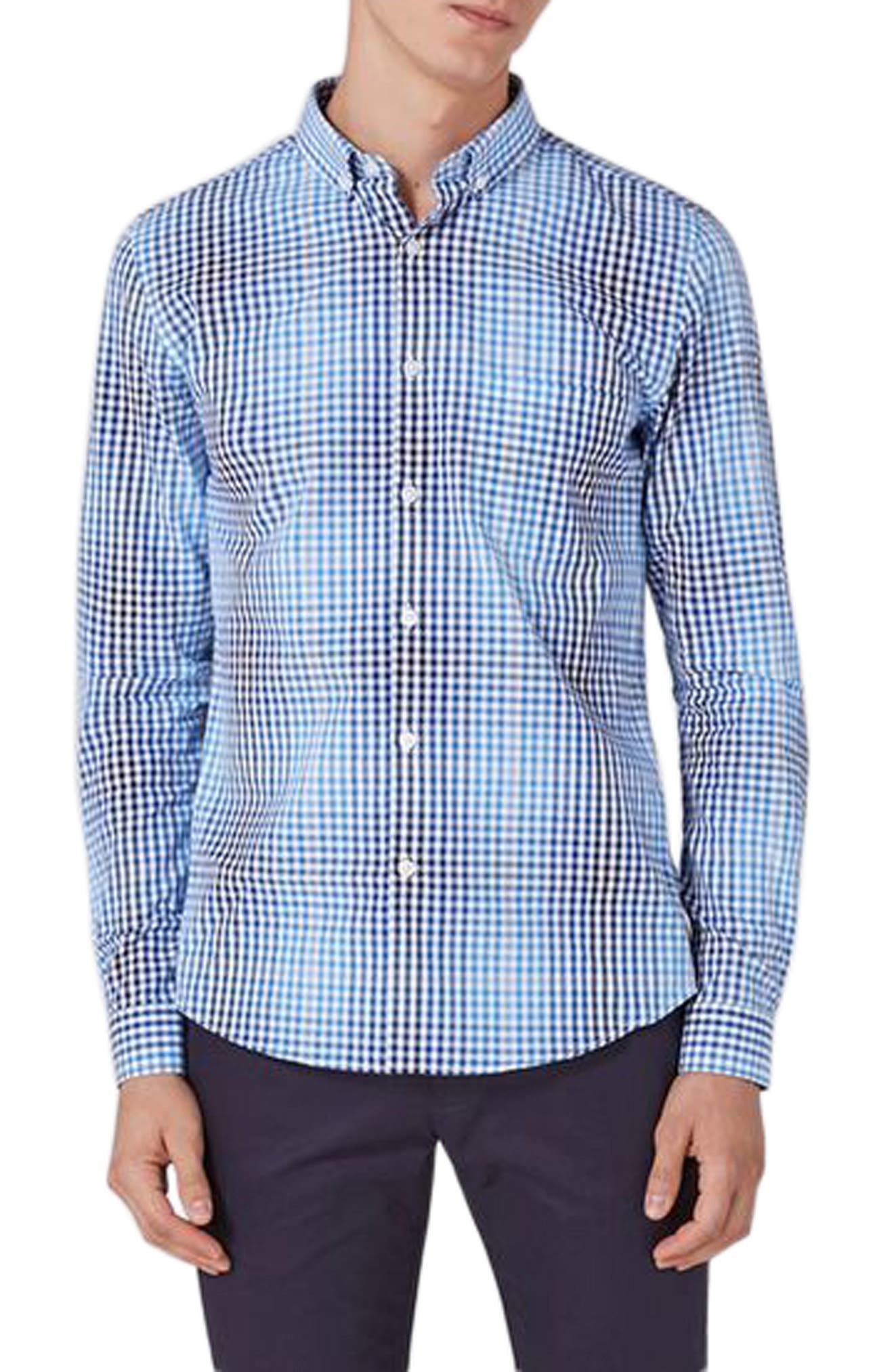Alternate Image 1 Selected - Topman Ombré Gingham Woven Shirt