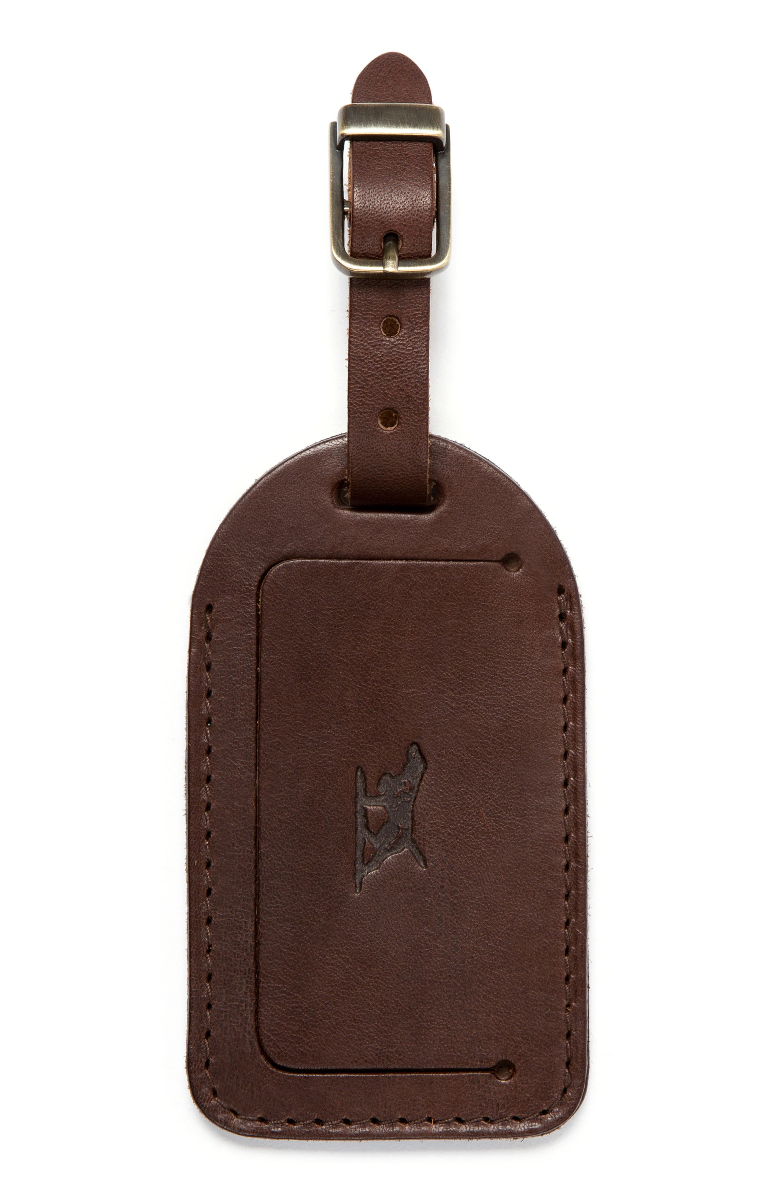 Leather Luggage Tag,                             Main thumbnail 1, color,                             Mud