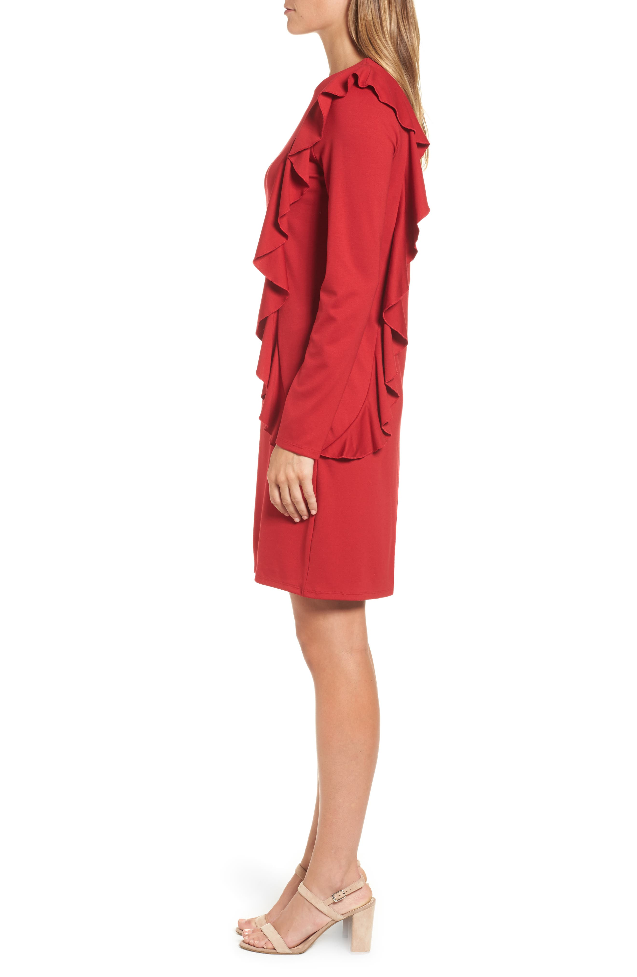 Halogen Ruffle Shift Dress,                             Alternate thumbnail 3, color,                             Red Chili