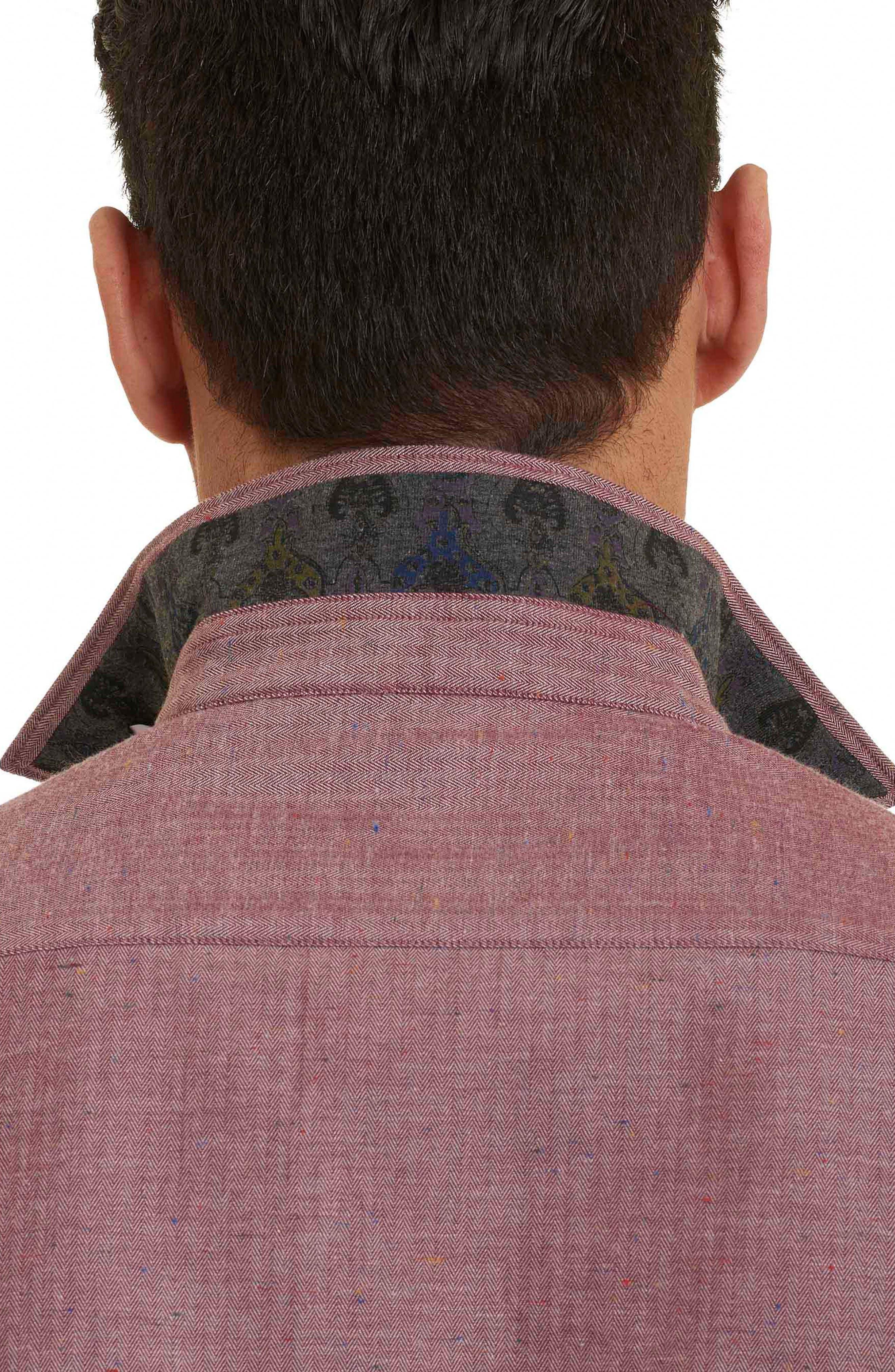 Upstate Classic Fit Herringbone Sport Shirt,                             Alternate thumbnail 2, color,                             Red