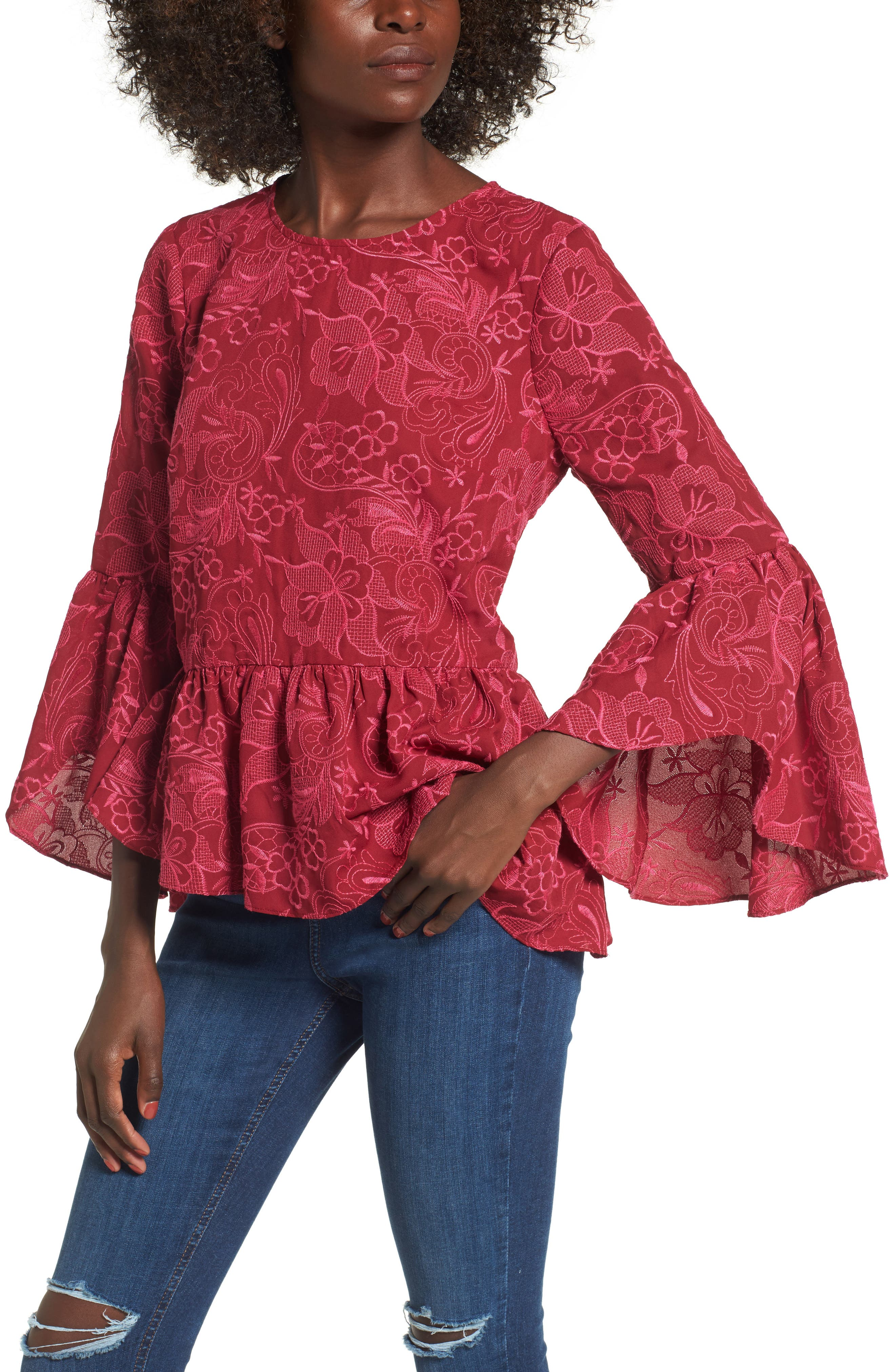 Helena Lace Bell Sleeve Top,                         Main,                         color, Shiraz