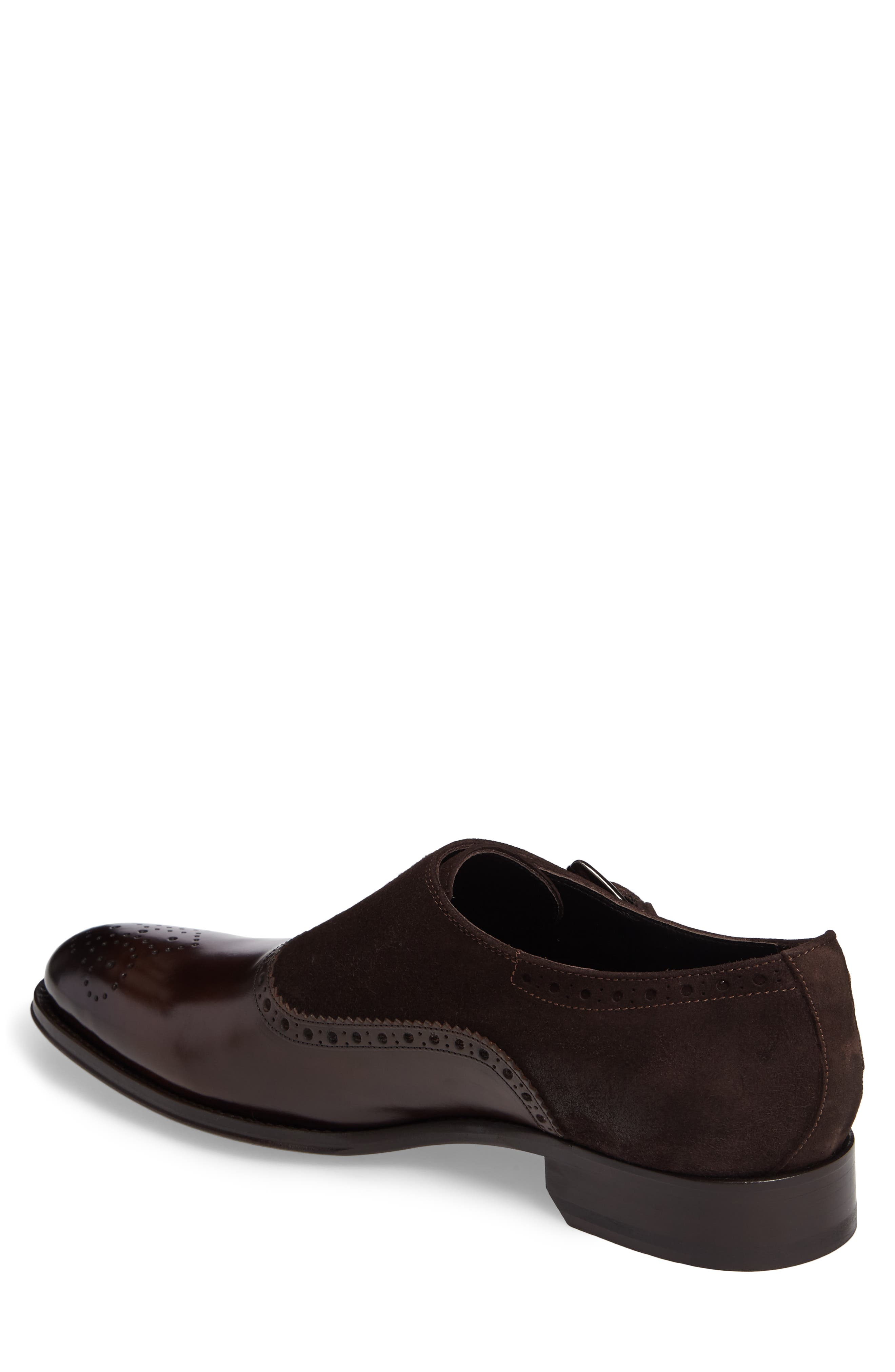 Arcadia Monk Strap Shoe,                             Alternate thumbnail 2, color,                             Brown Leather/ Suede