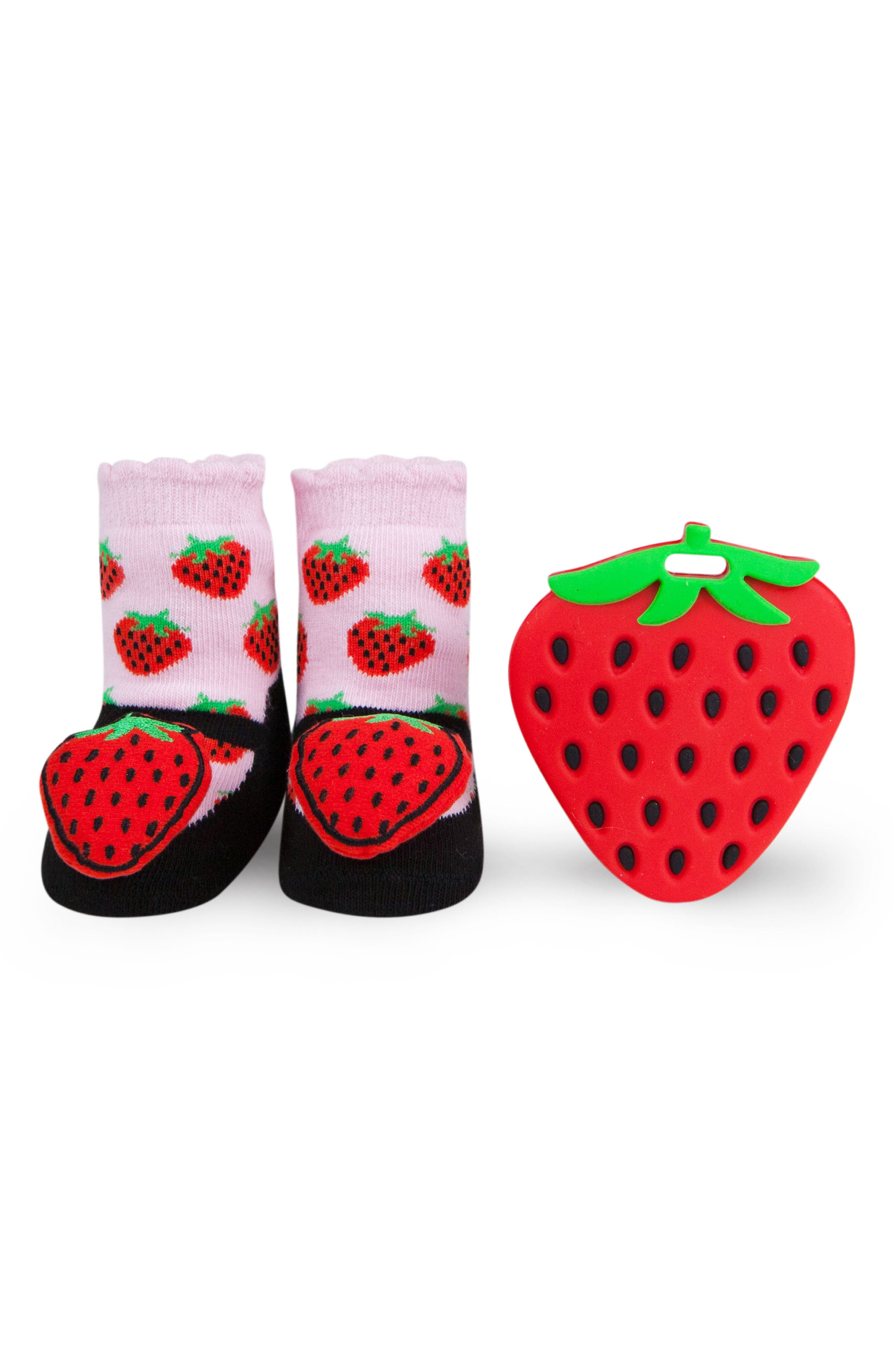 Strawberry Rattle Socks & Teether Gift Set,                             Main thumbnail 1, color,                             Red