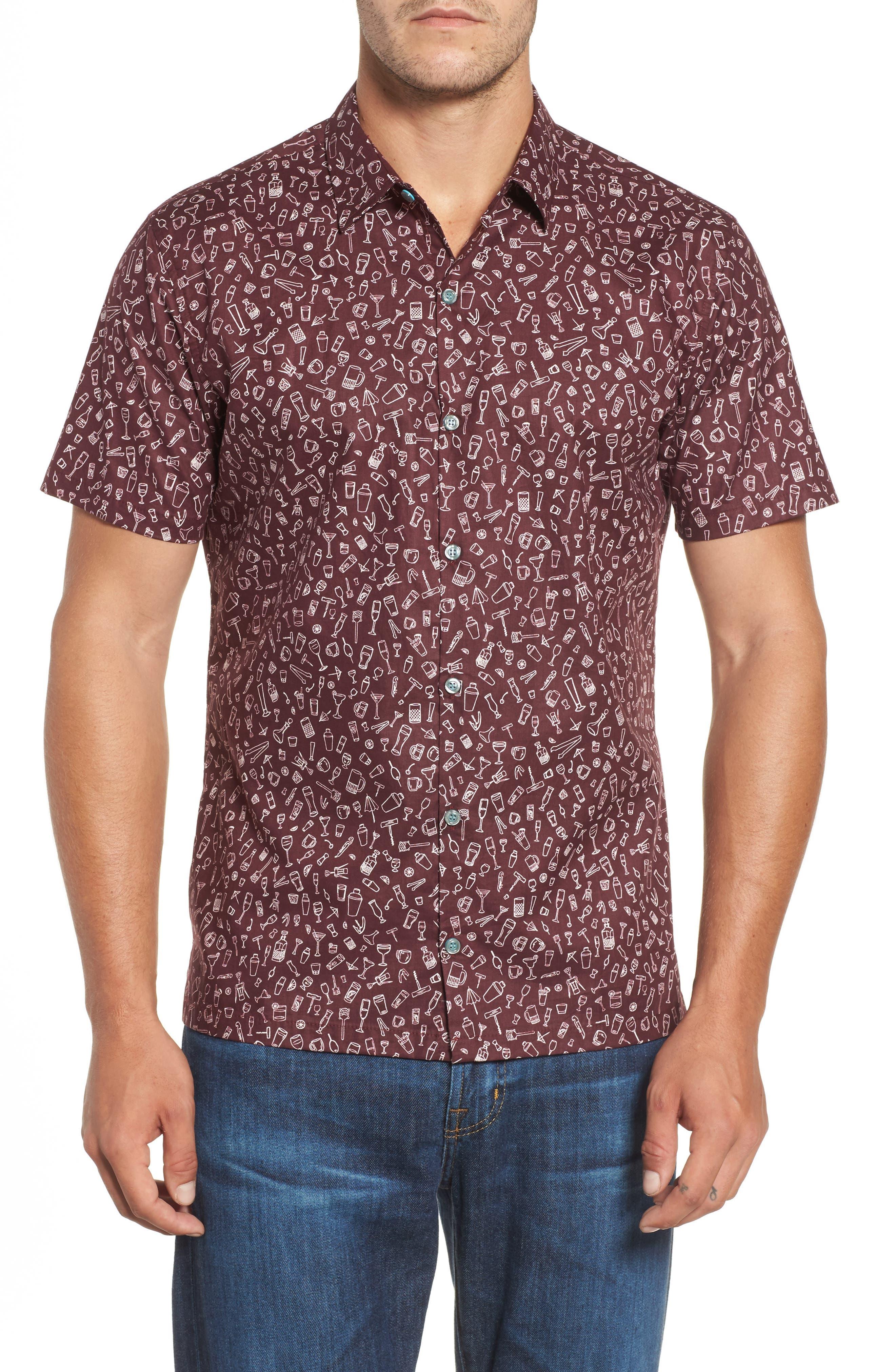 5 PM Slim Fit Camp Shirt,                         Main,                         color, Wine