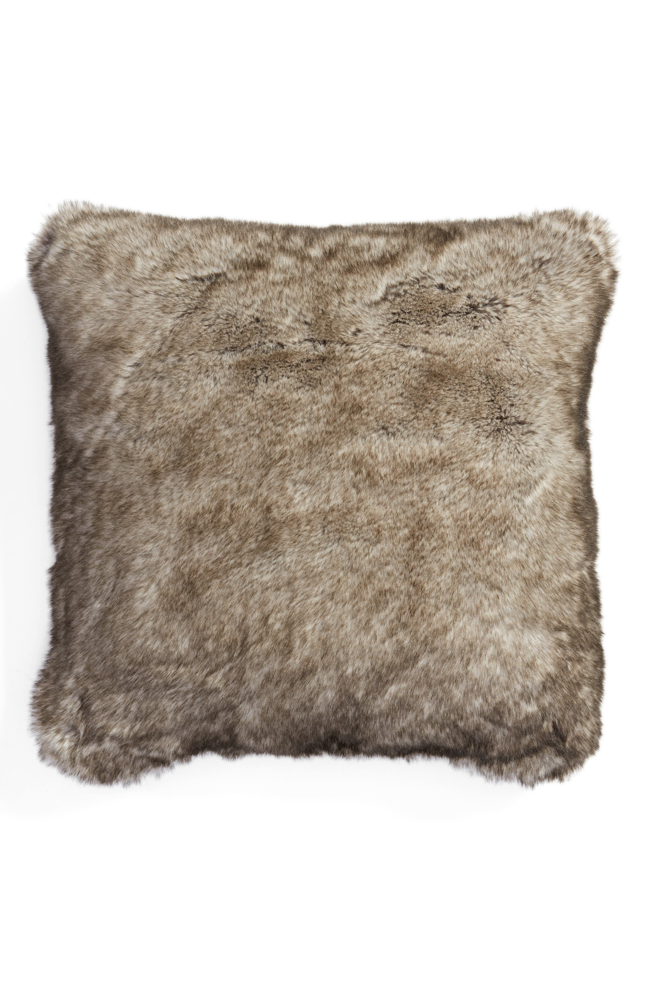 Cuddle Up Faux Fur Pillow,                         Main,                         color, New Natural Tipped
