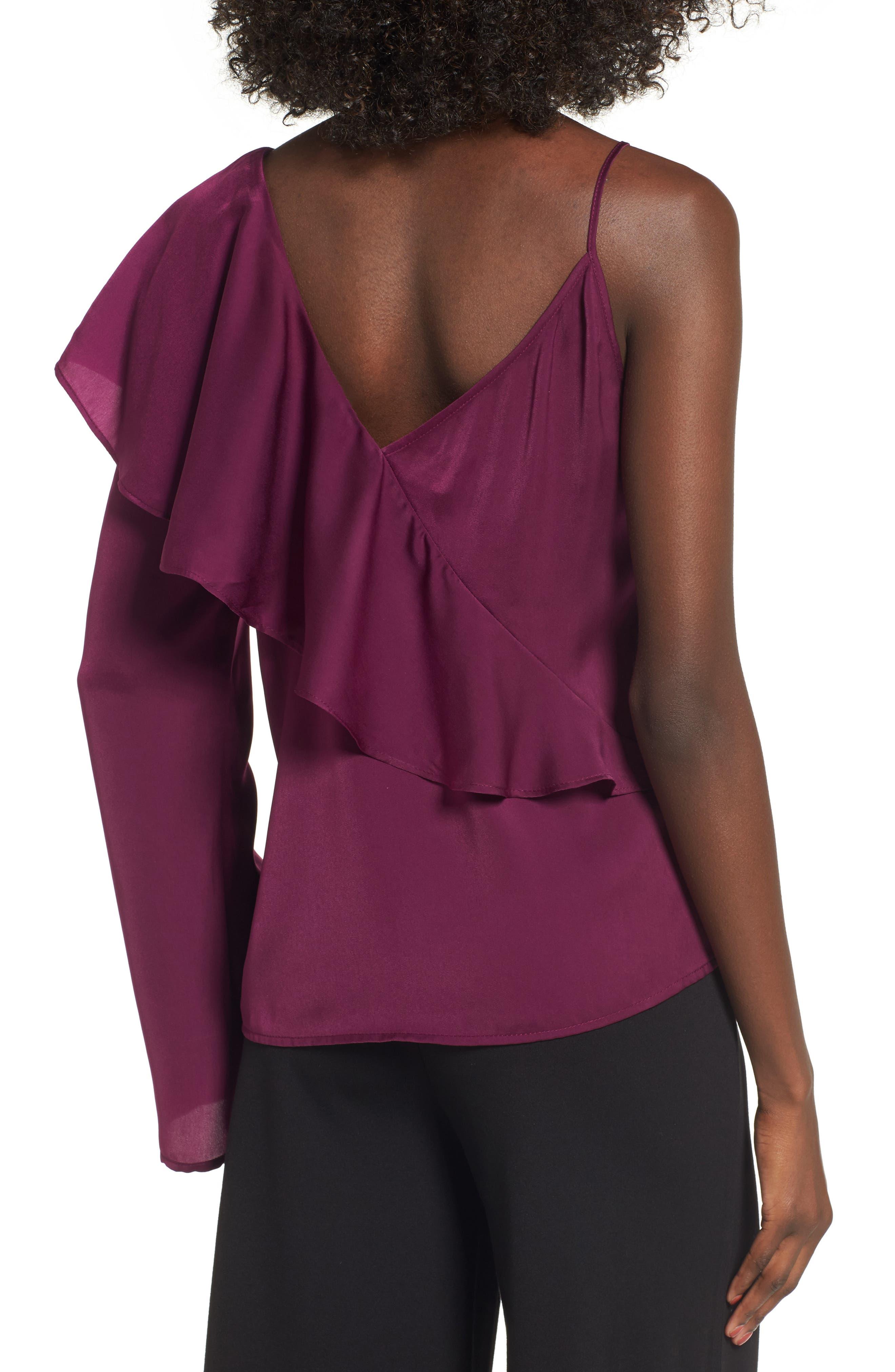 Asymmetrical Ruffle Top,                             Alternate thumbnail 2, color,                             Purple Dark