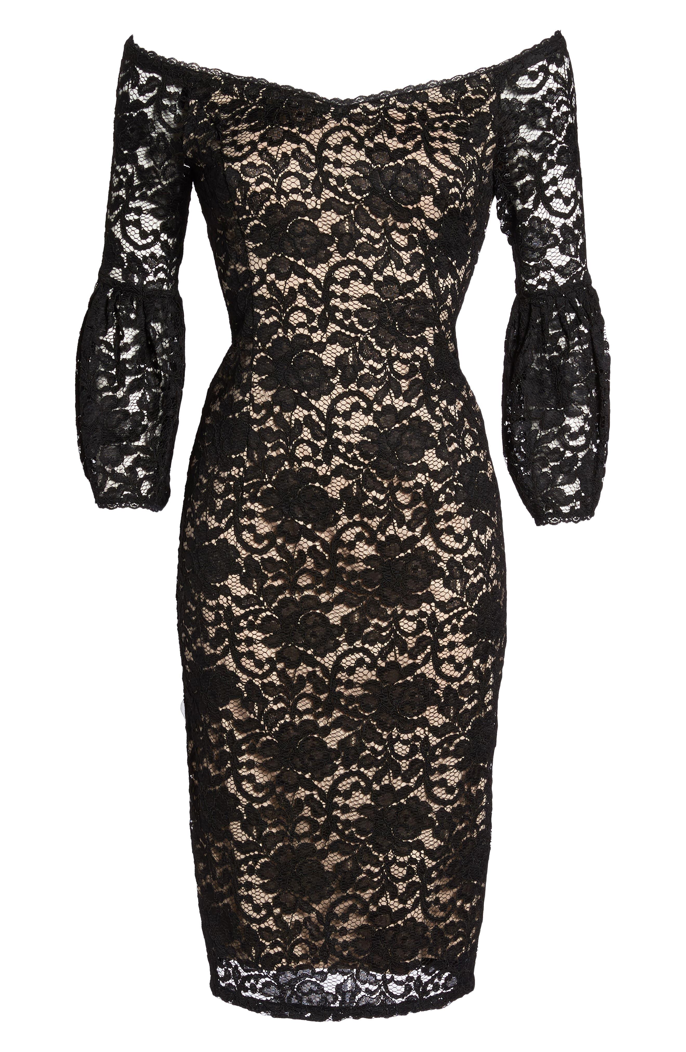Juliet Lace Off the Shoulder Dress,                             Alternate thumbnail 6, color,                             Black/ Bisque