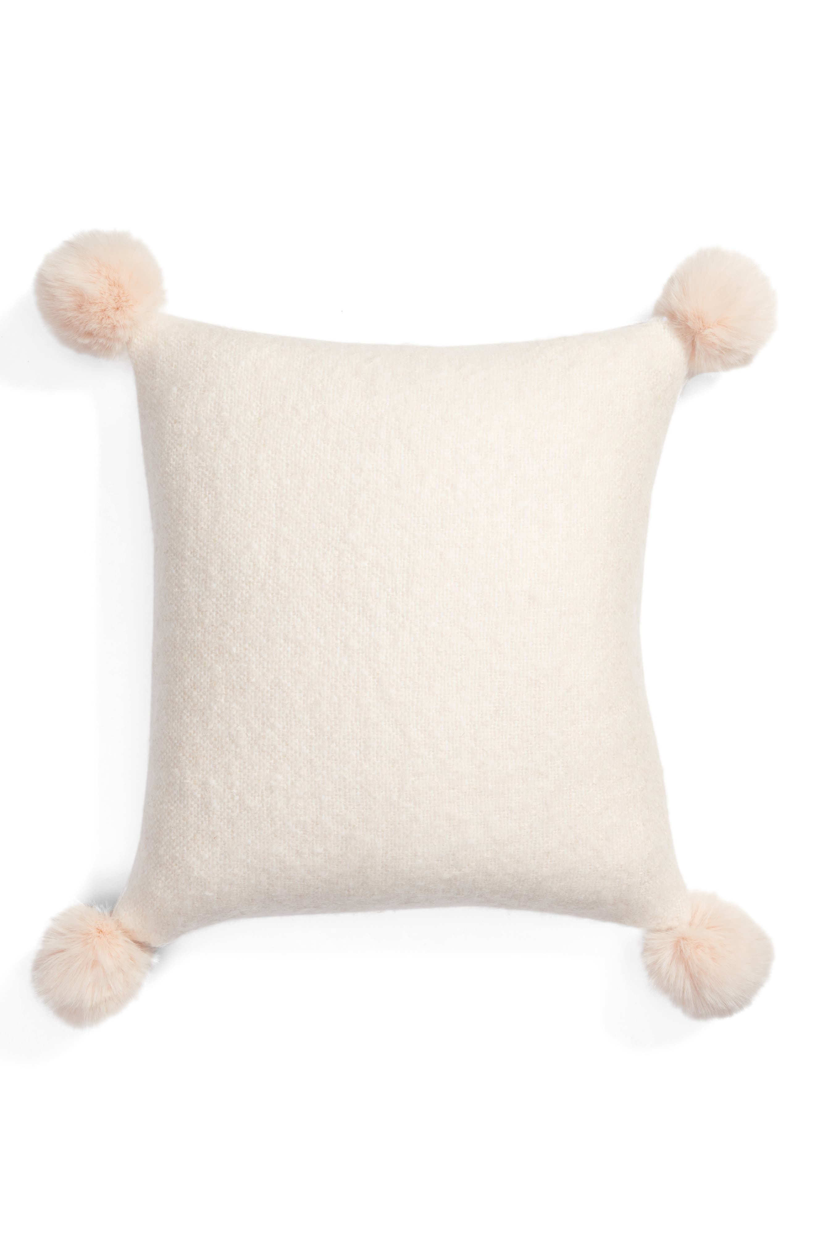 Brushed Accent Pillow with Pompoms,                         Main,                         color, Pink Peony Bud