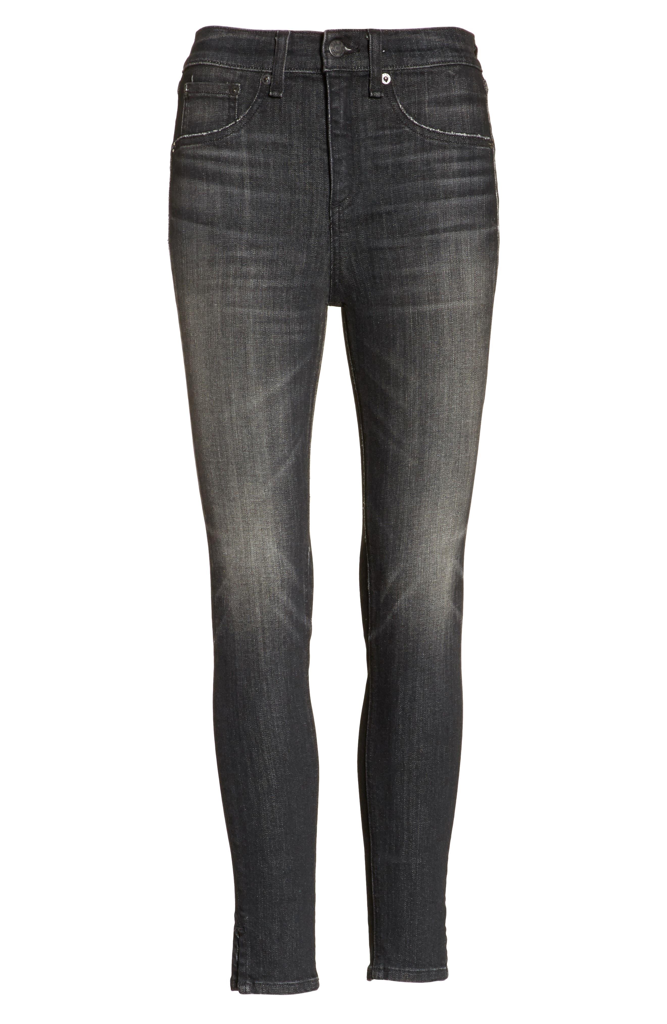 High Waist Ankle Skinny Jeans,                             Alternate thumbnail 6, color,                             Black Lock