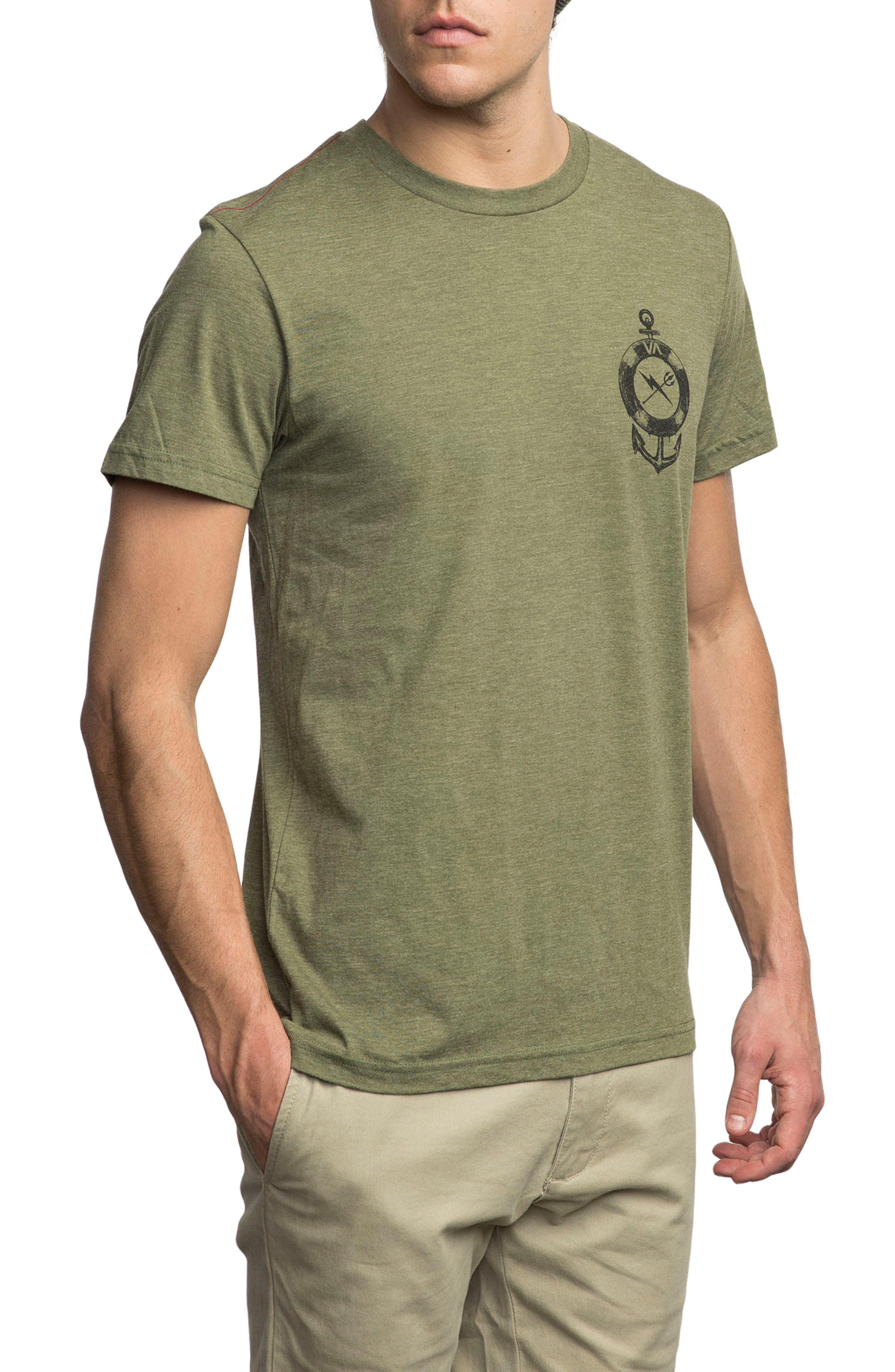 Sea Life Graphic T-Shirt,                             Alternate thumbnail 3, color,                             Burnt Olive