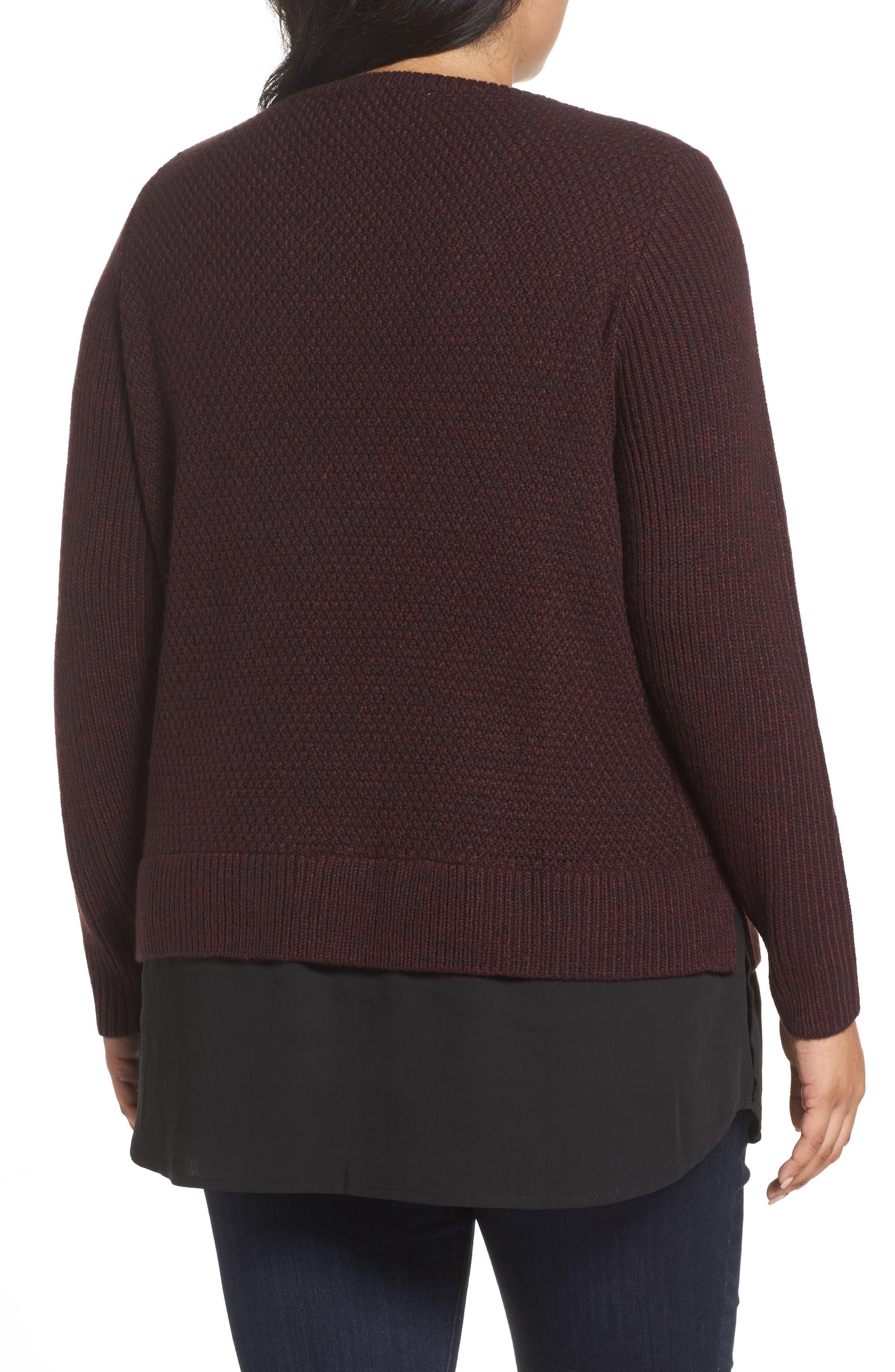 Alternate Image 2  - Foxcroft Sophia Layered Look Sweater (Plus Size)