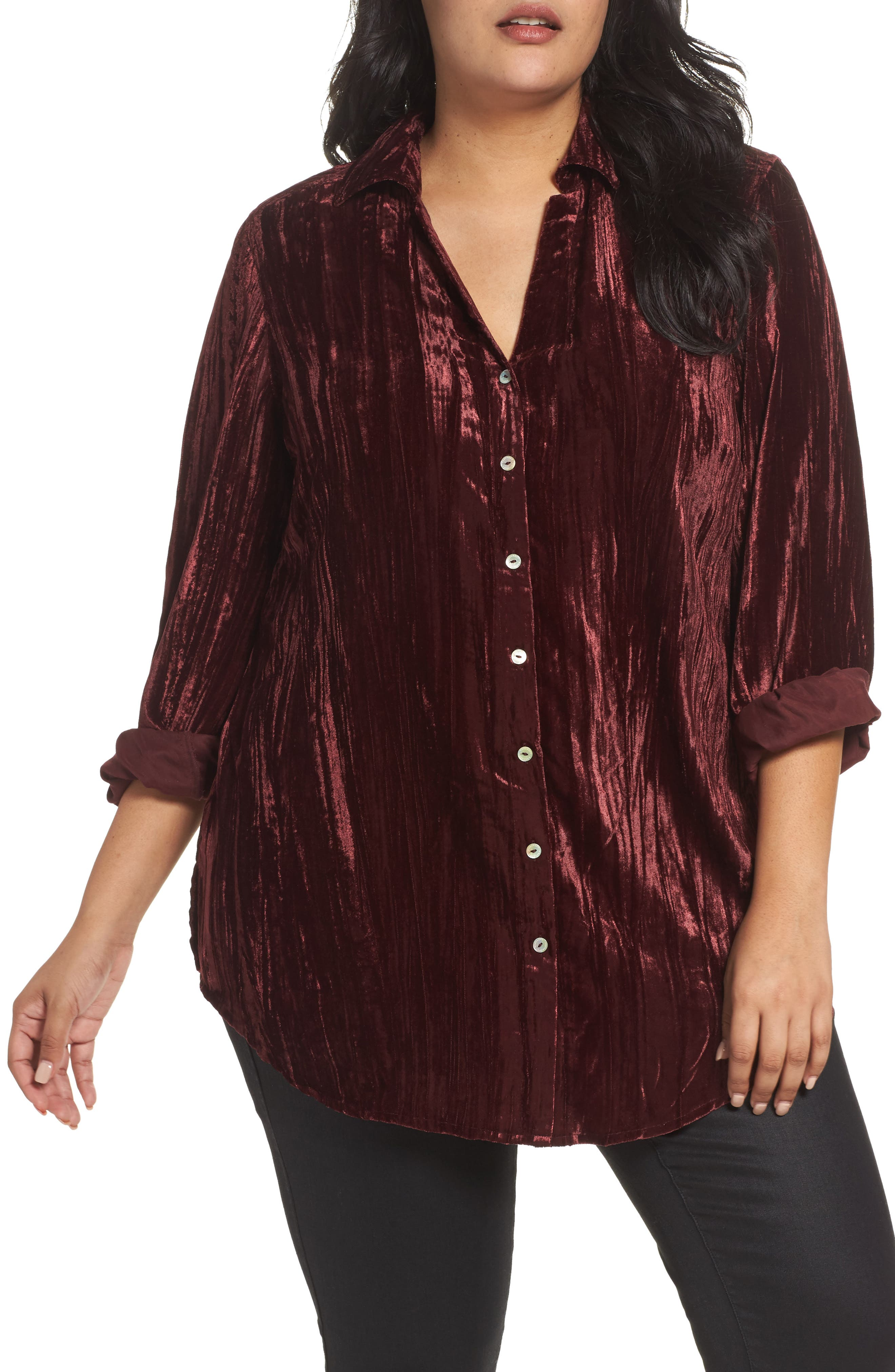 Foxcroft Ivy Broomstick Velvet Shirt (Plus Size)