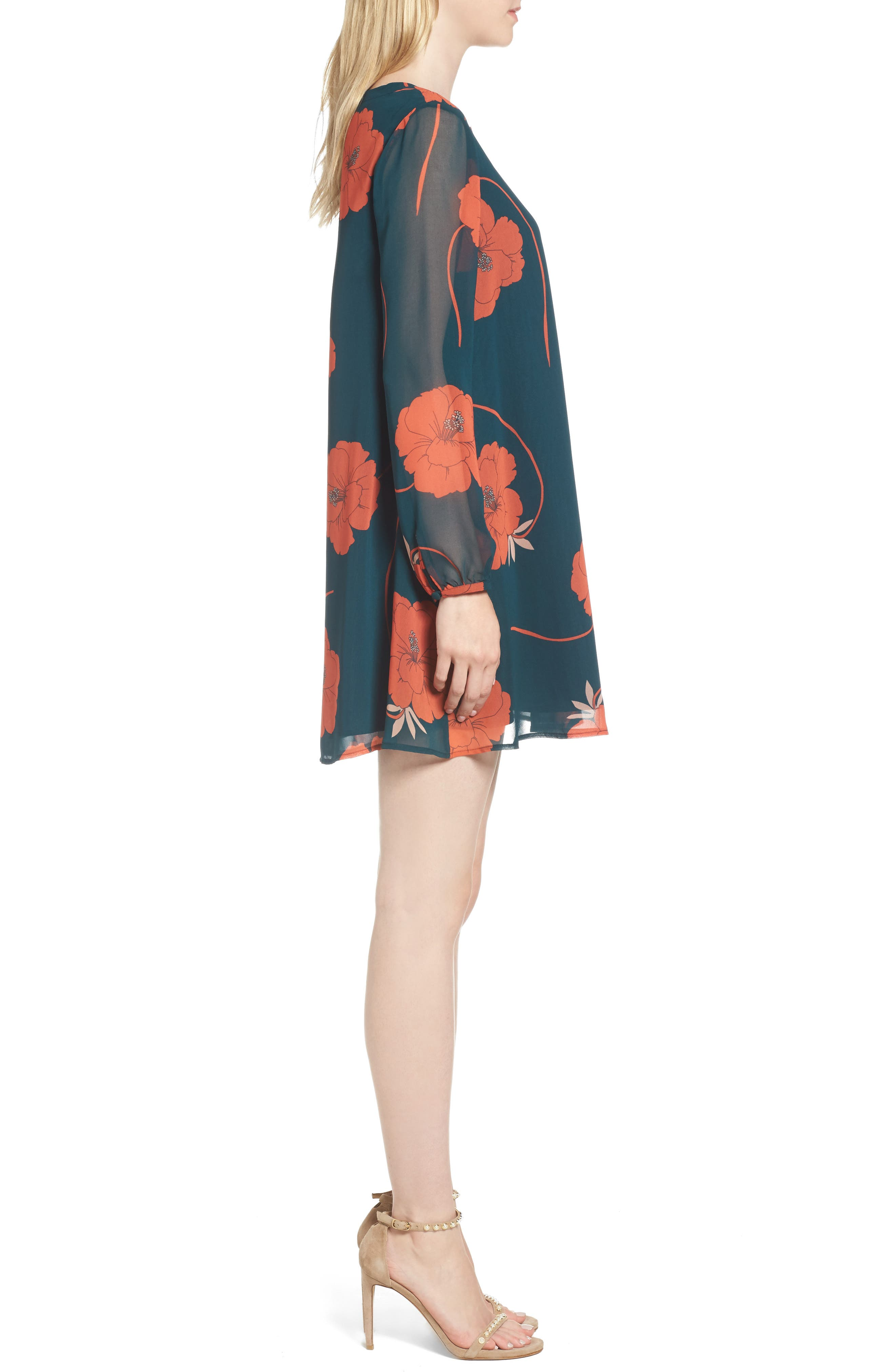 Sybella Floral Shift Dress,                             Alternate thumbnail 2, color,                             Forest Green